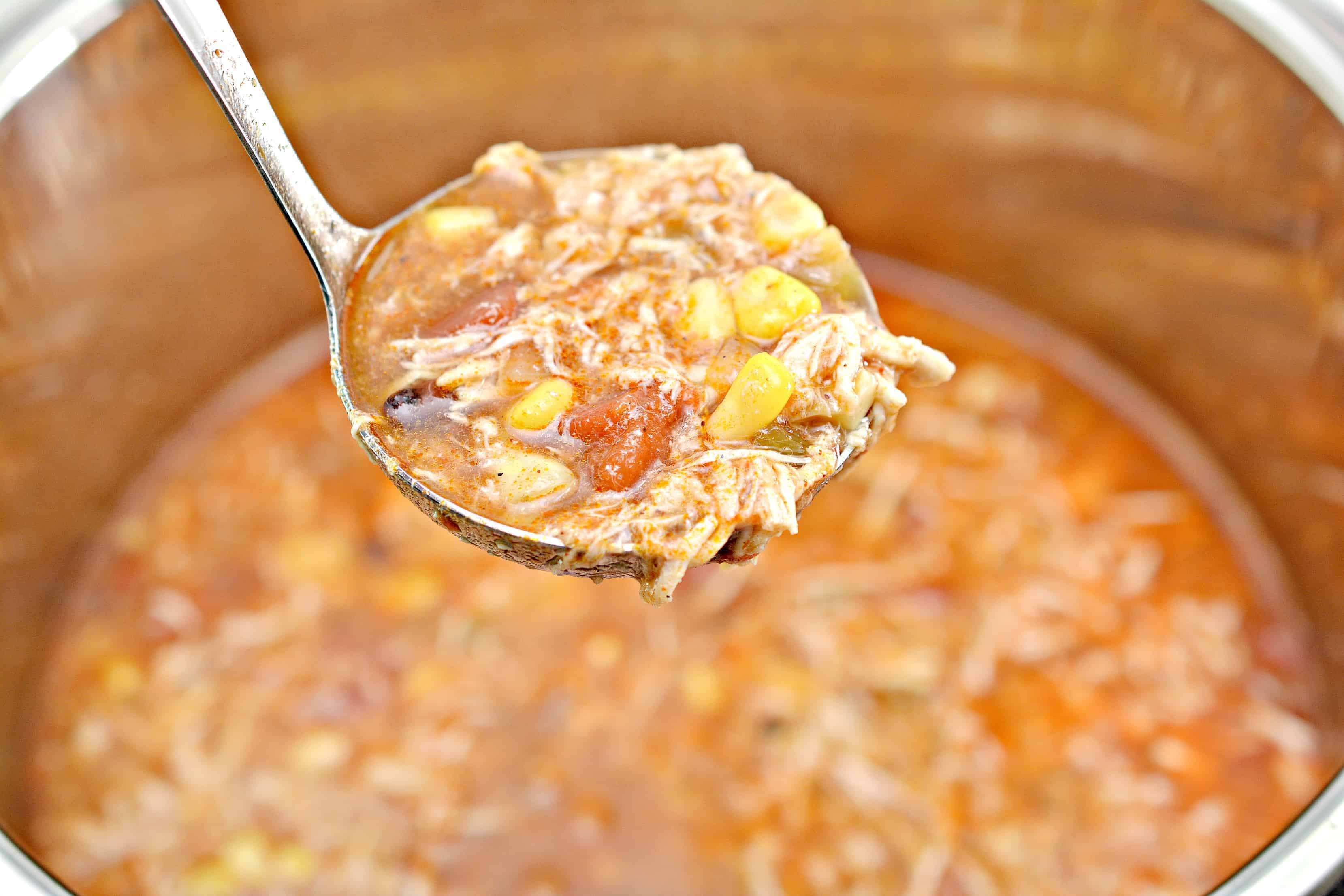 chicken tortilla soup in a ladle
