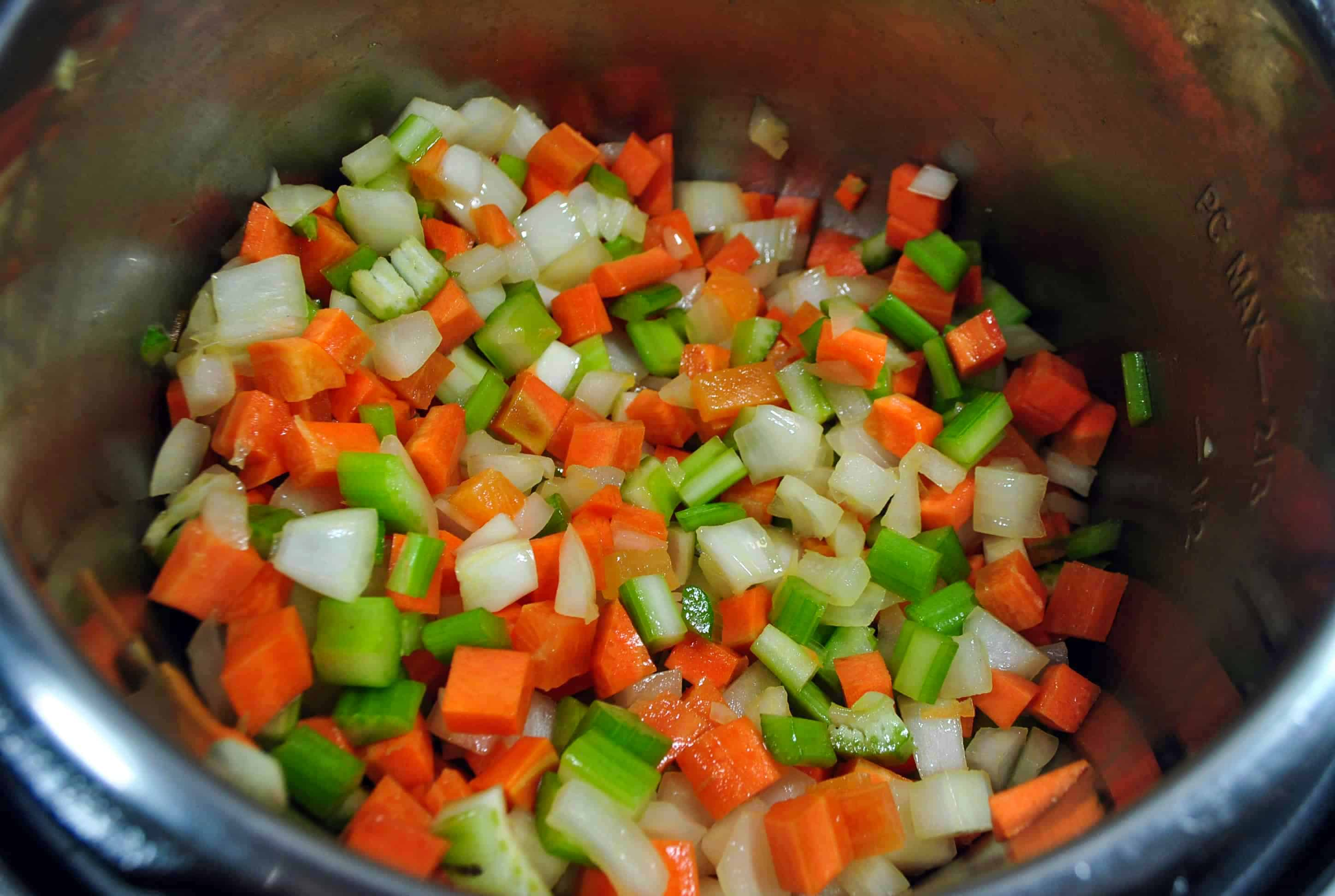 sauteed vegetables in pot