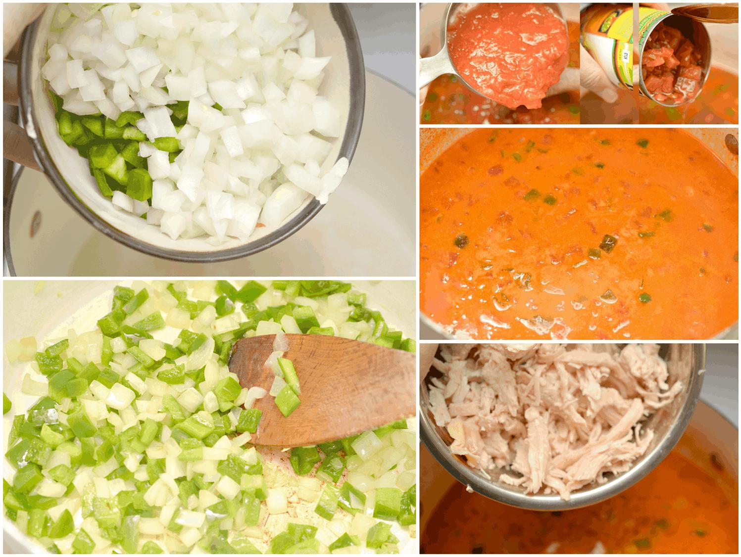 making chicken enchilada soup