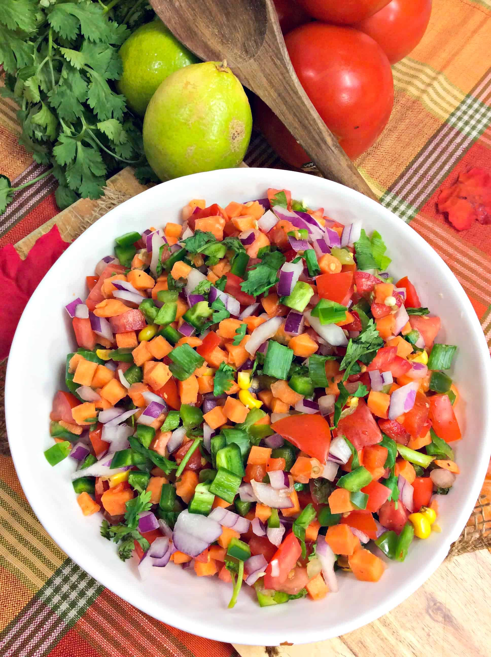 Pico de Gallo Salsa with Sweet Potatoes