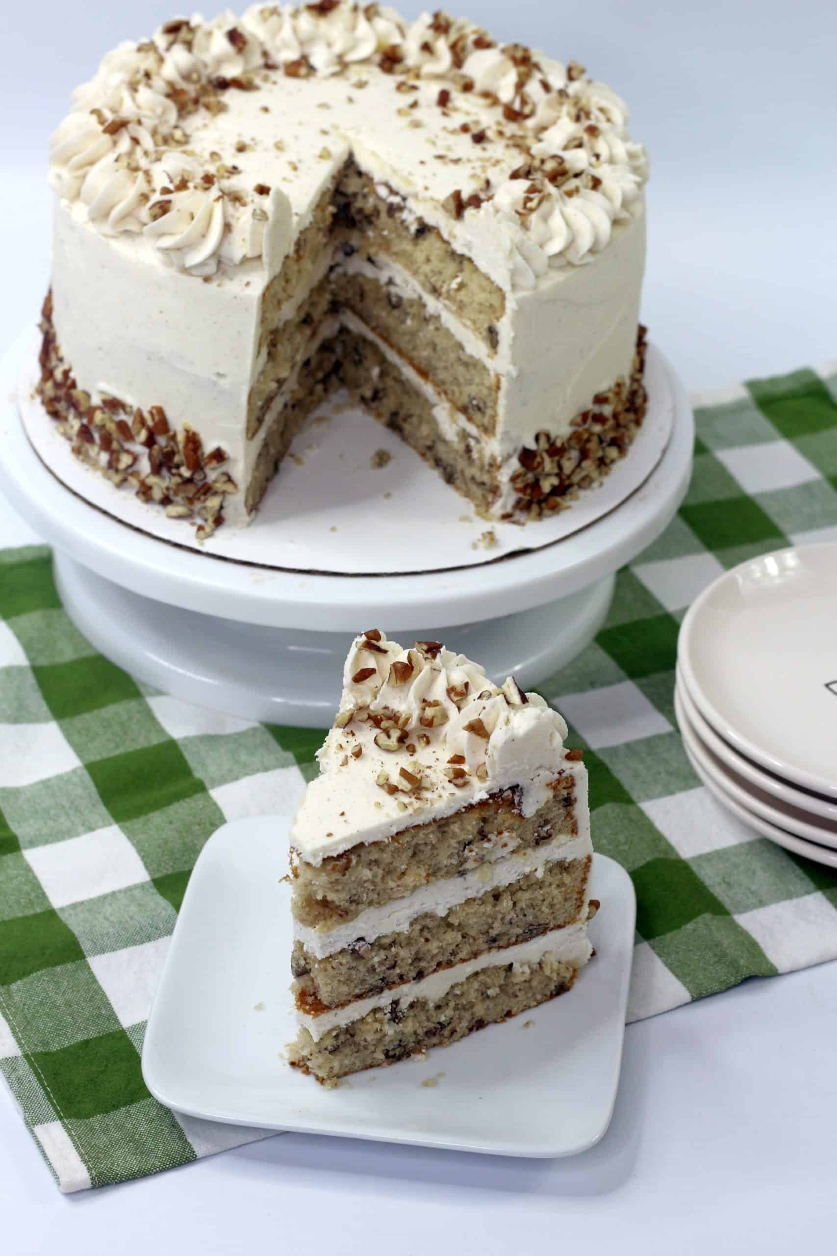 piece of butter pecan layer cake