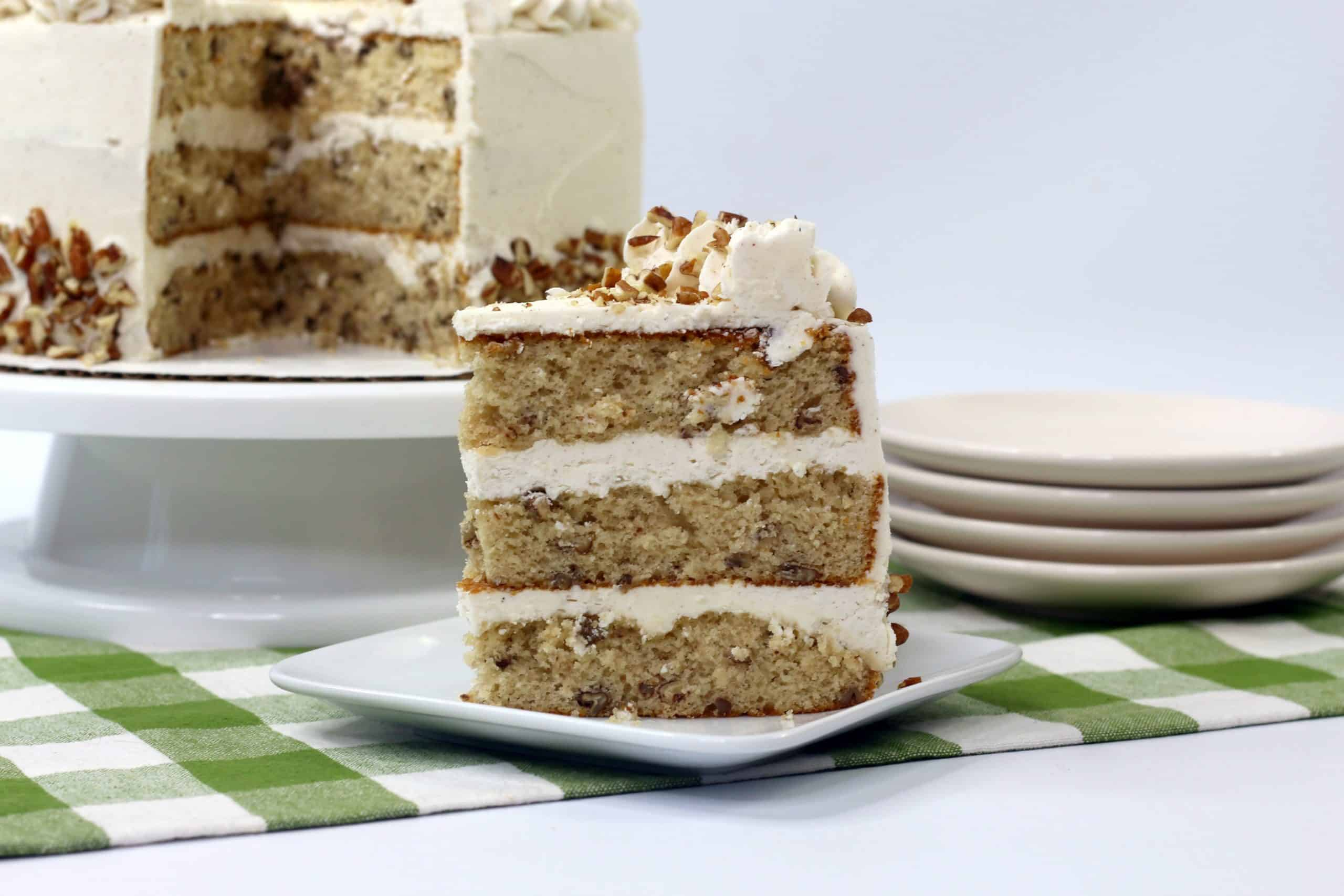 ready to eat piece of butter pecan cake