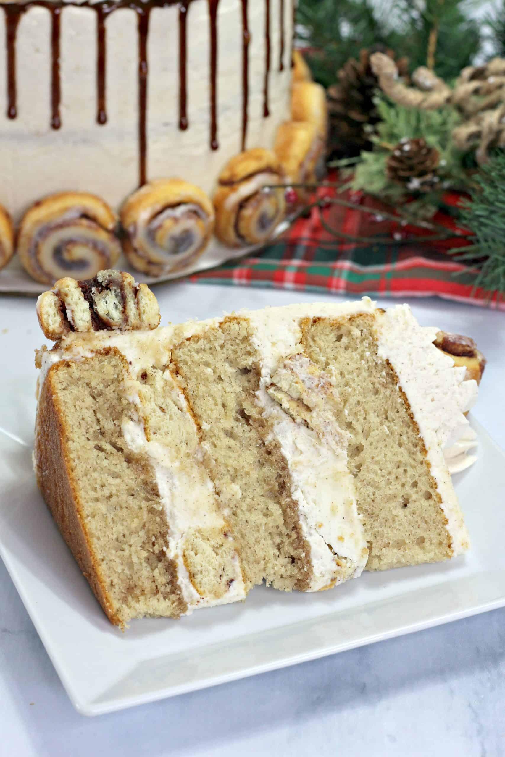 cinnamon roll layer cake on plate