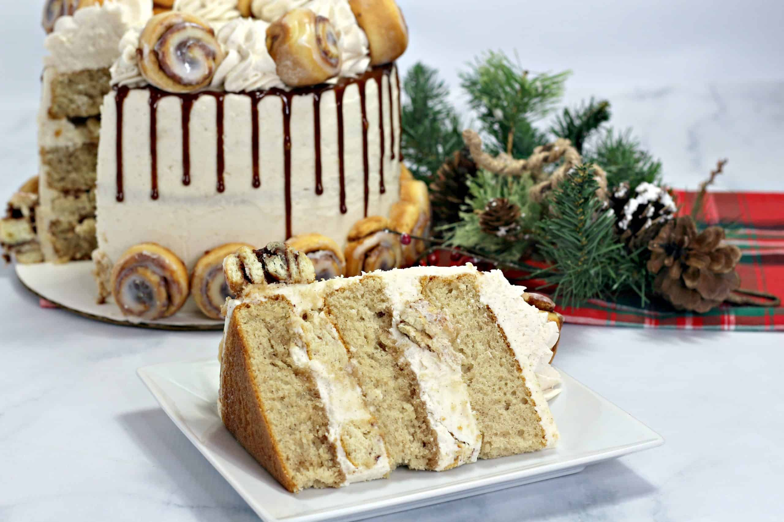 slice of cinnamon cake with cake in background