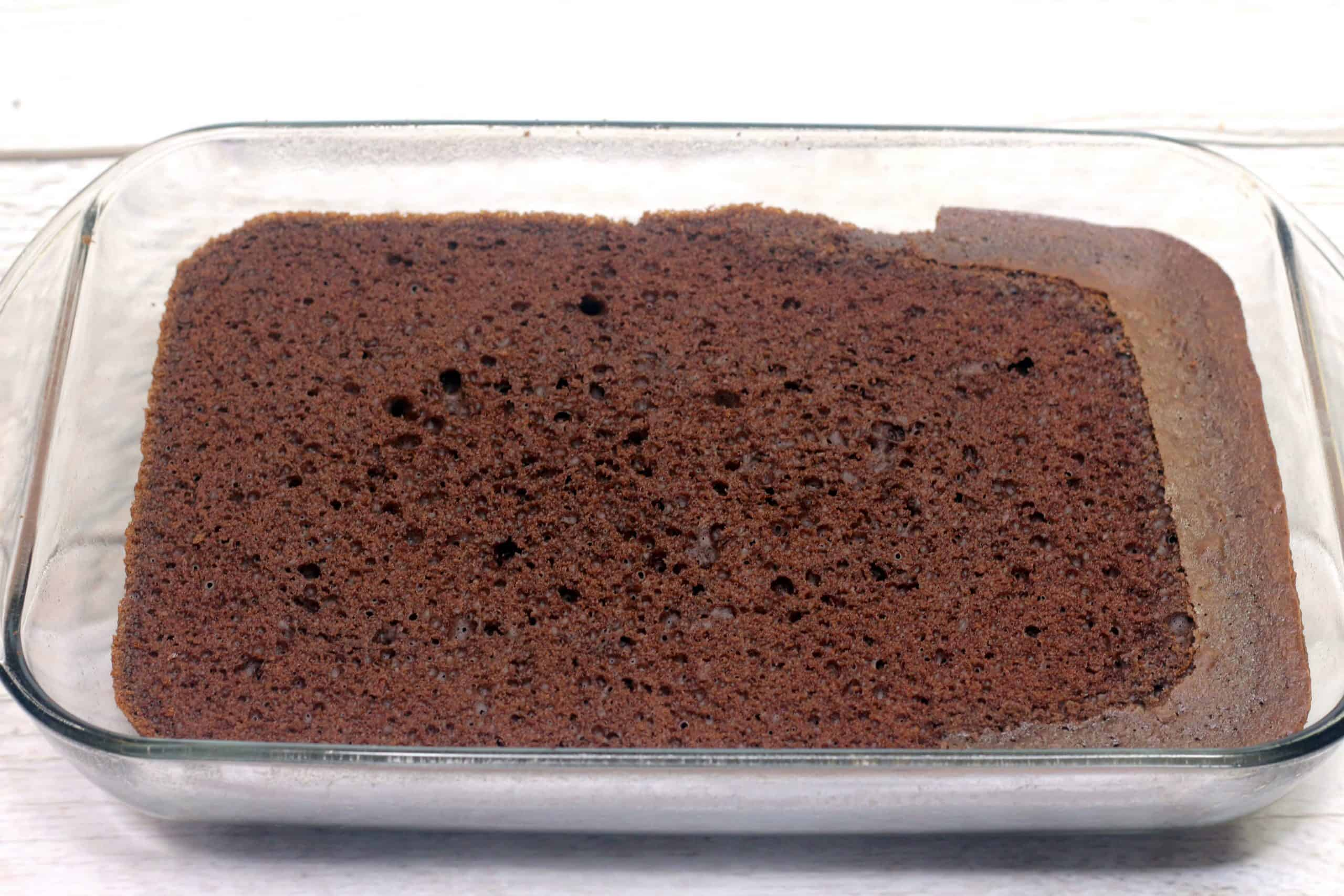 eggless chocolate cake out of the oven