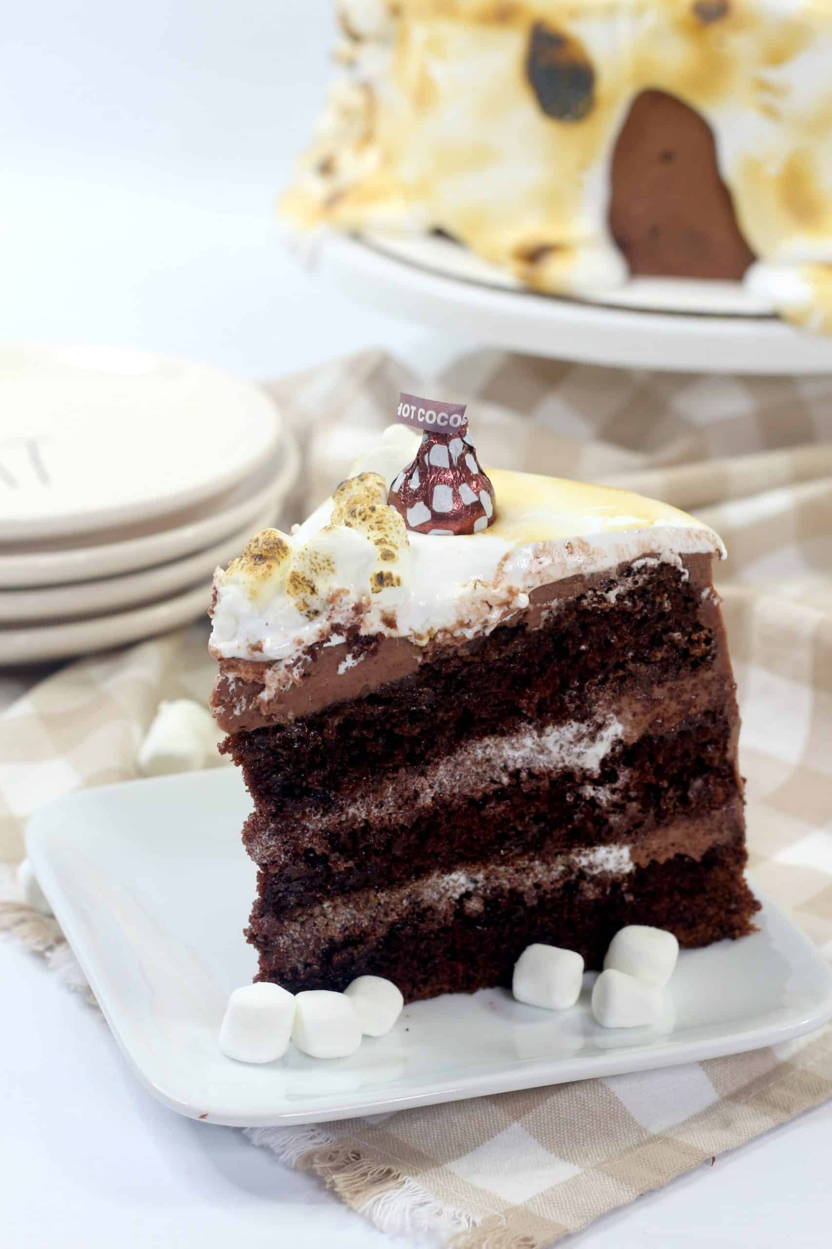 slice of hot chocolate cake