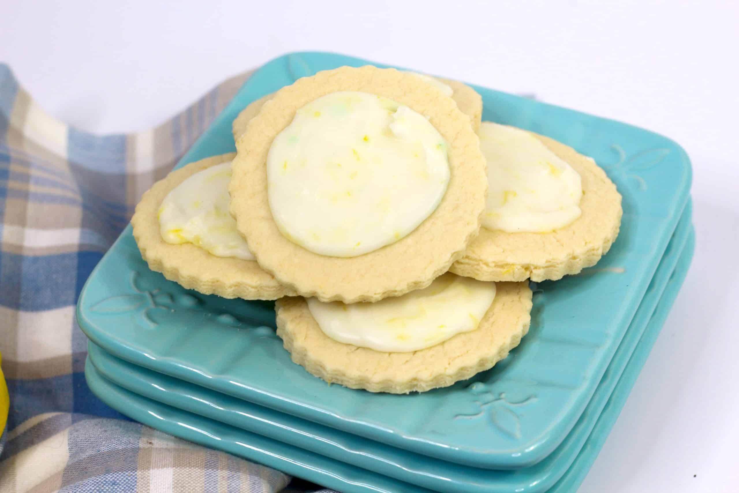 Meyer Lemon sugar cookies on a blue plate