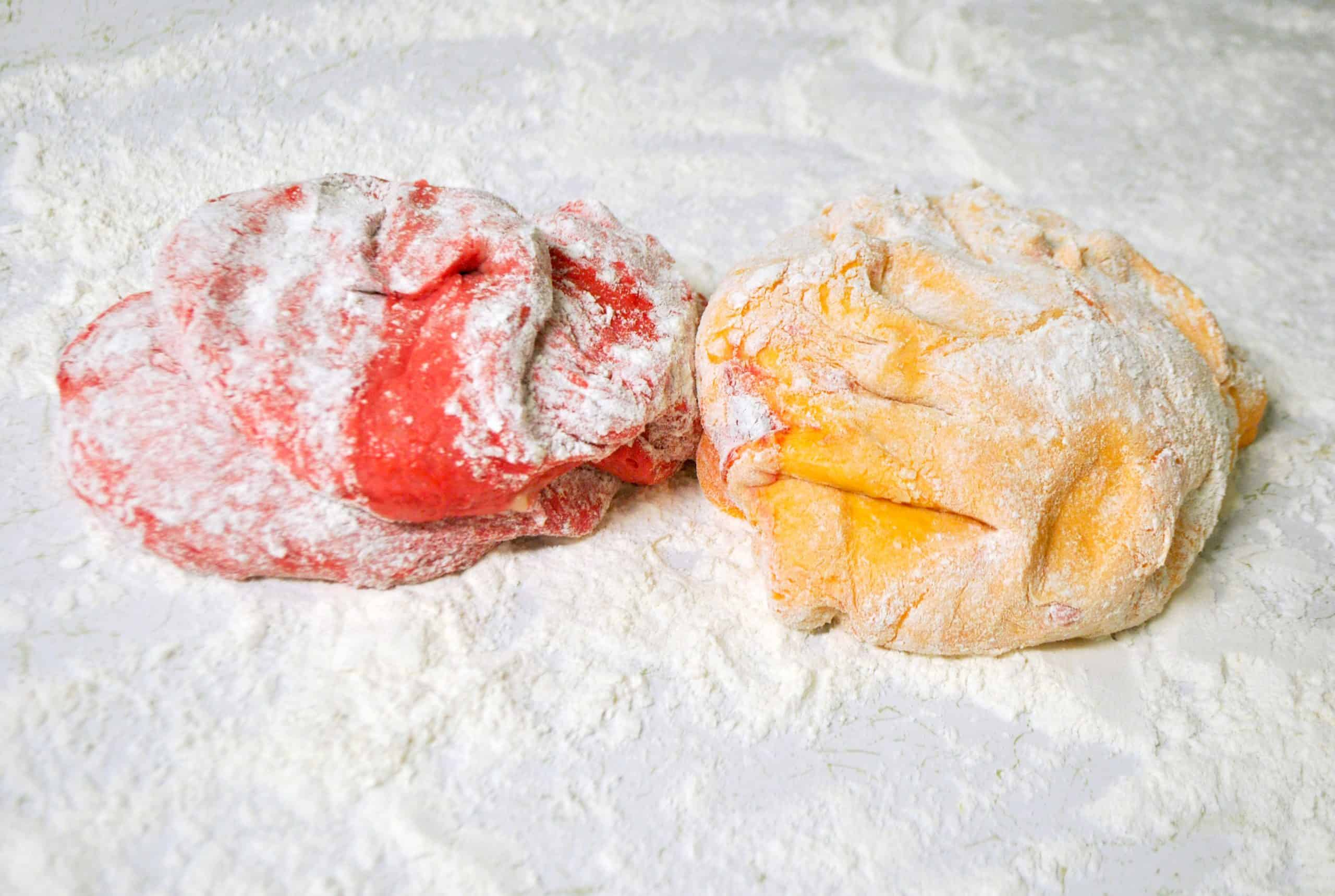 2 colored dough balls