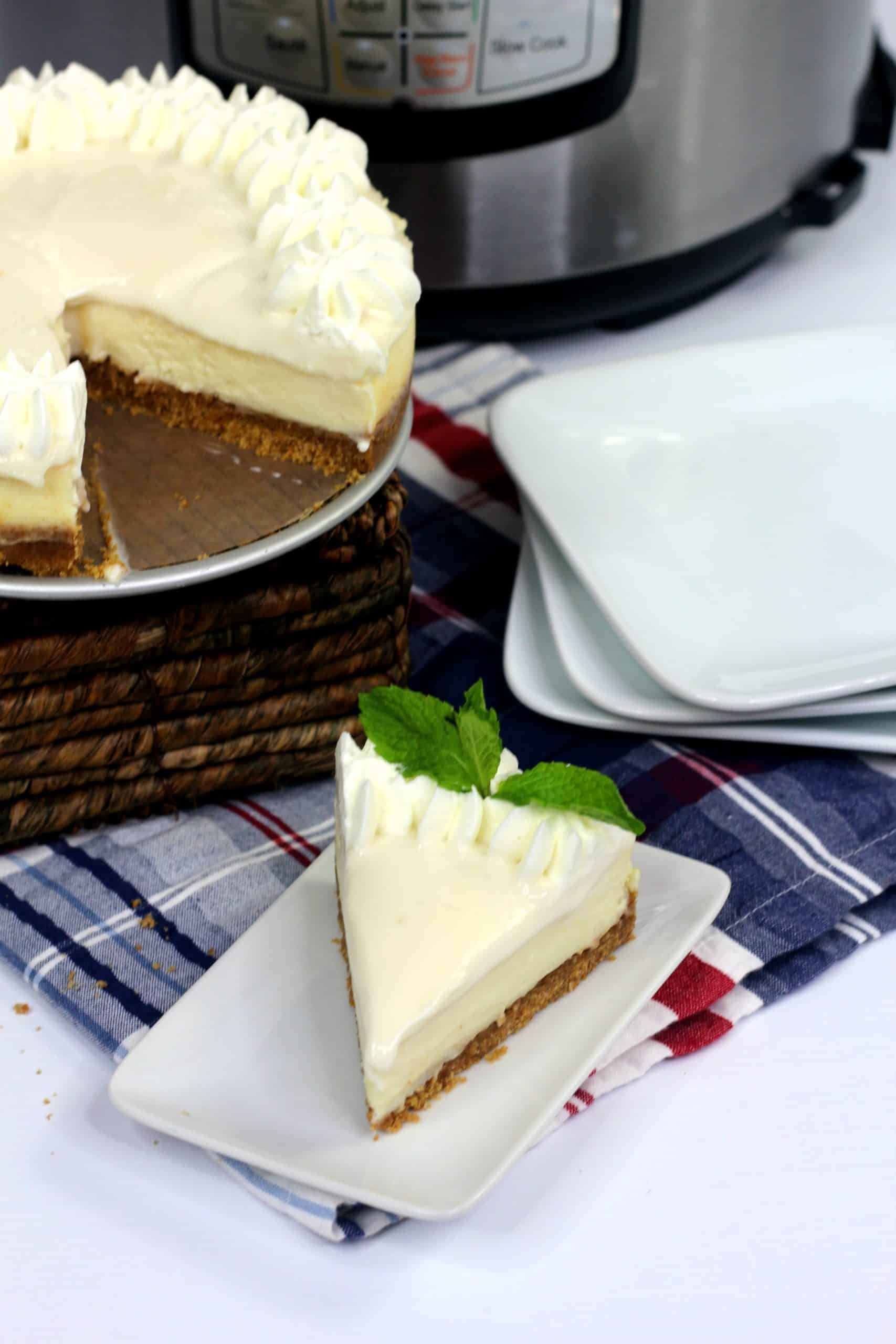 slice of pressure cooker cheesecake