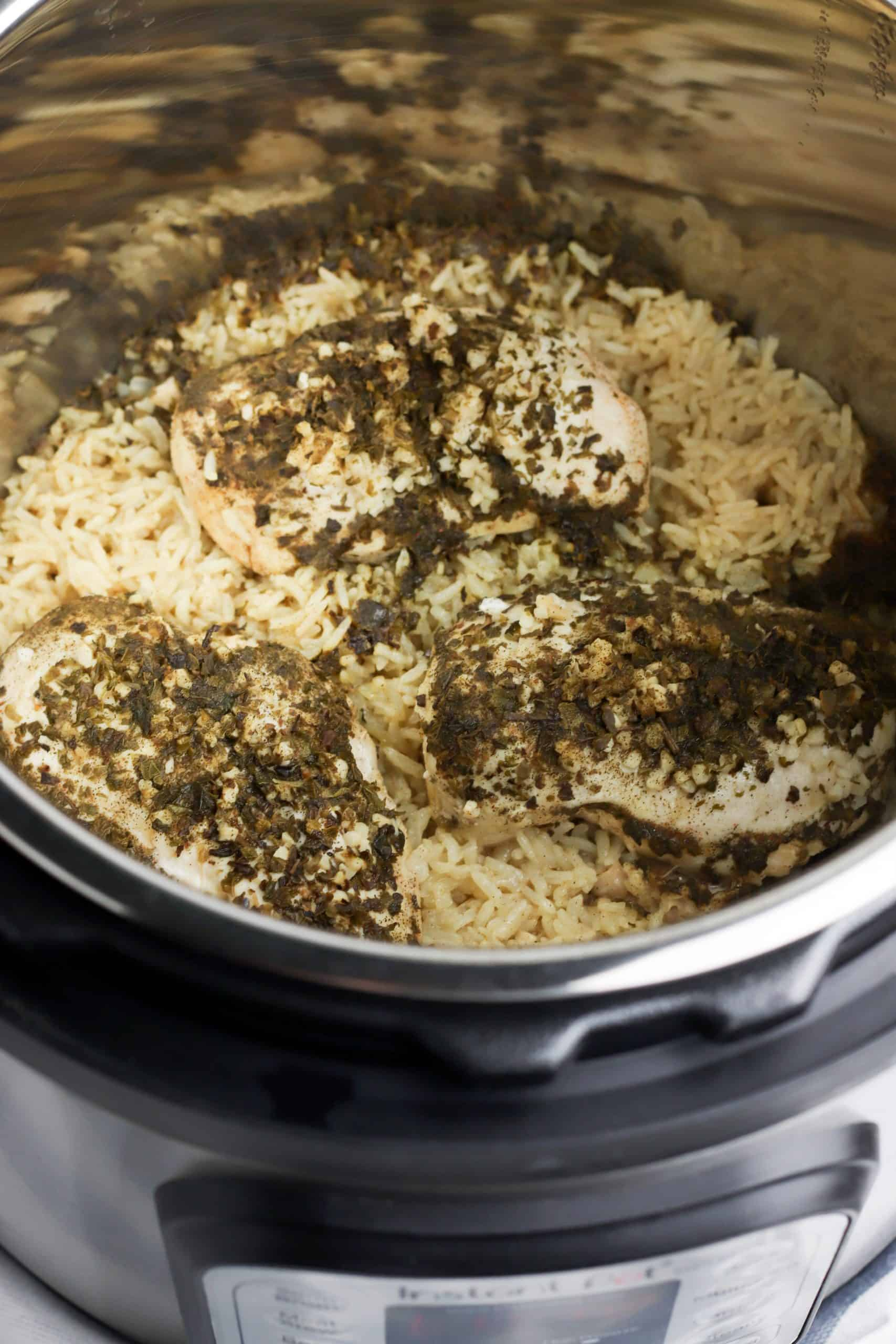 Instant Pot Chicken and Rice cooked