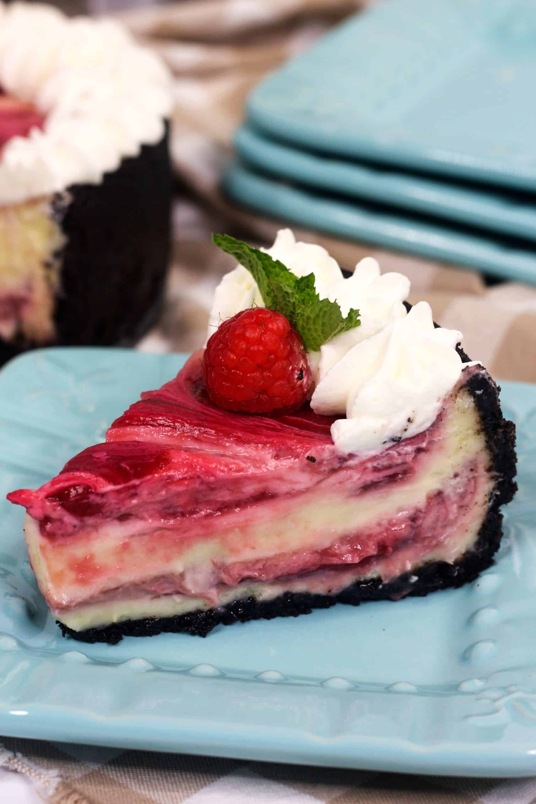slice of white chocolate raspberry cheesecake