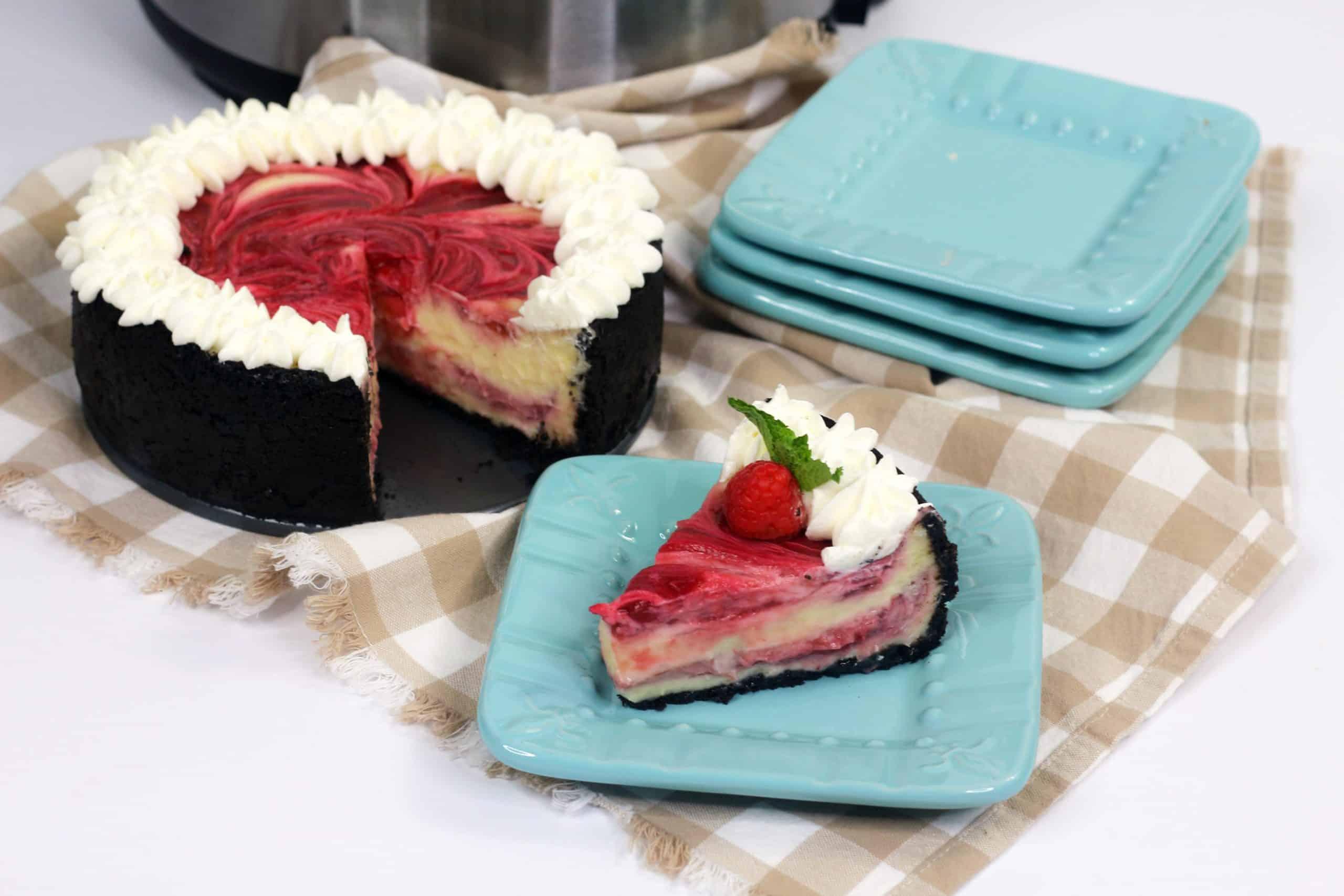 slice of white chocolate raspberry cheesecake
