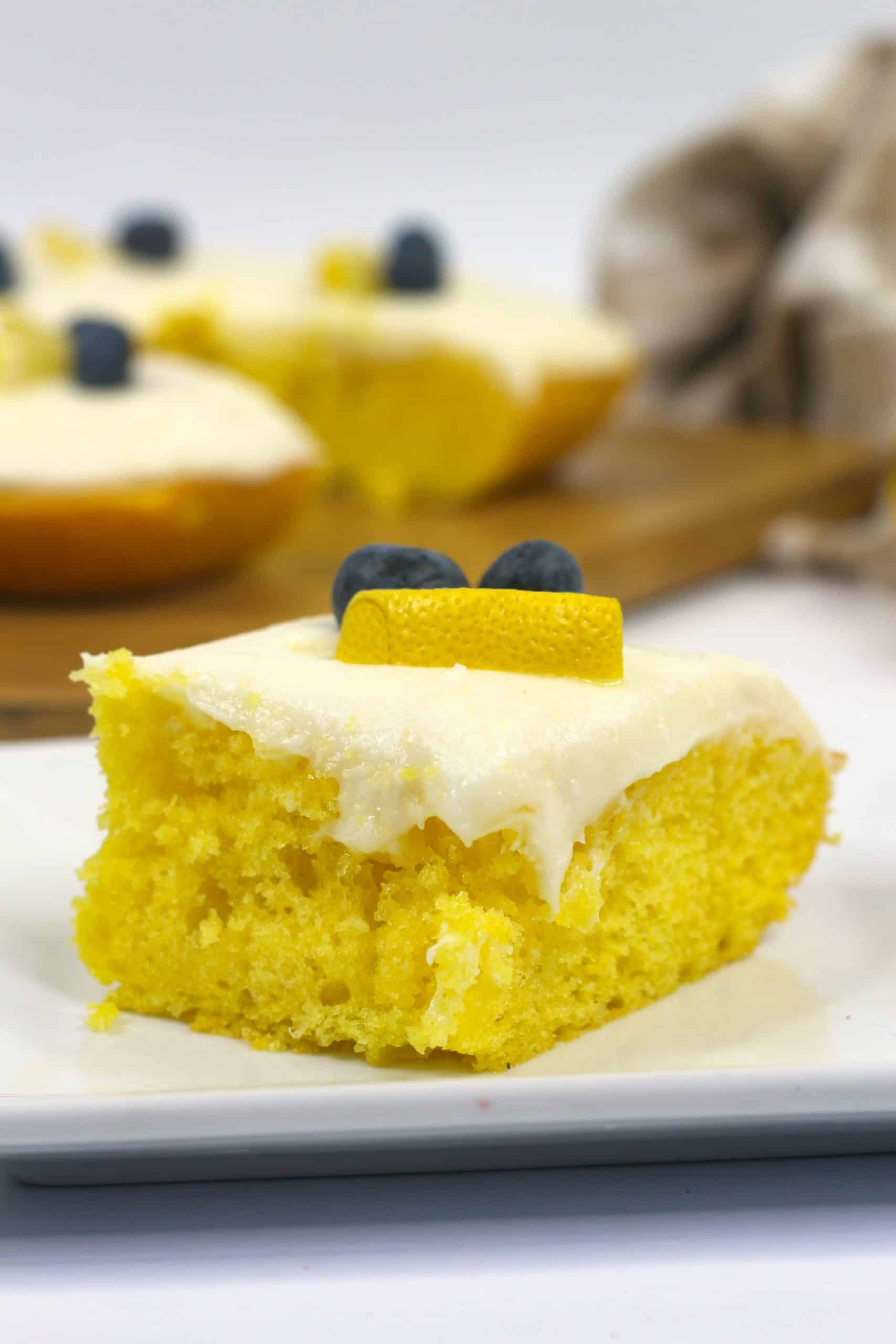 piece of homemade lemon cake on plate