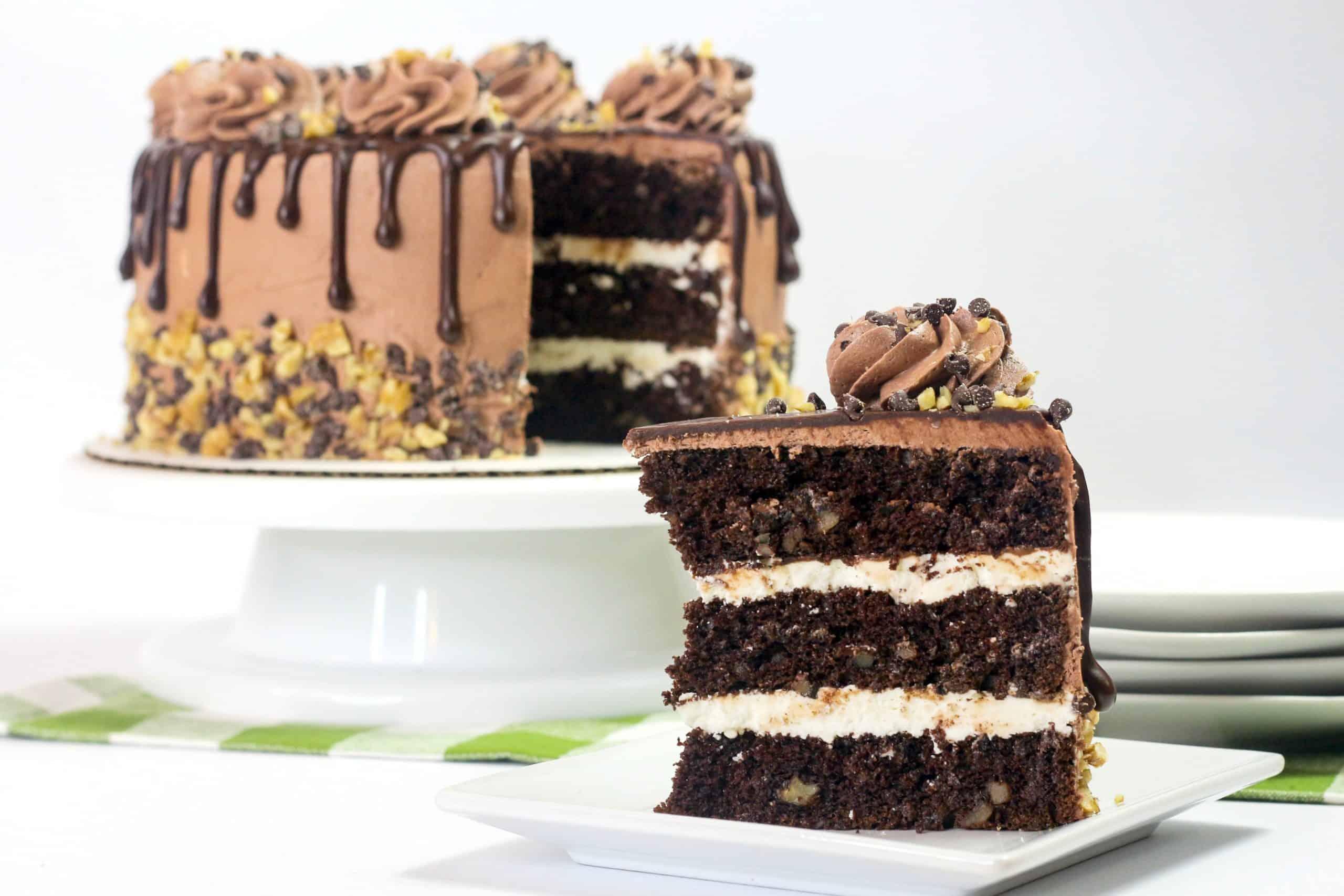 slice of chocolate fudge cake on a white plate
