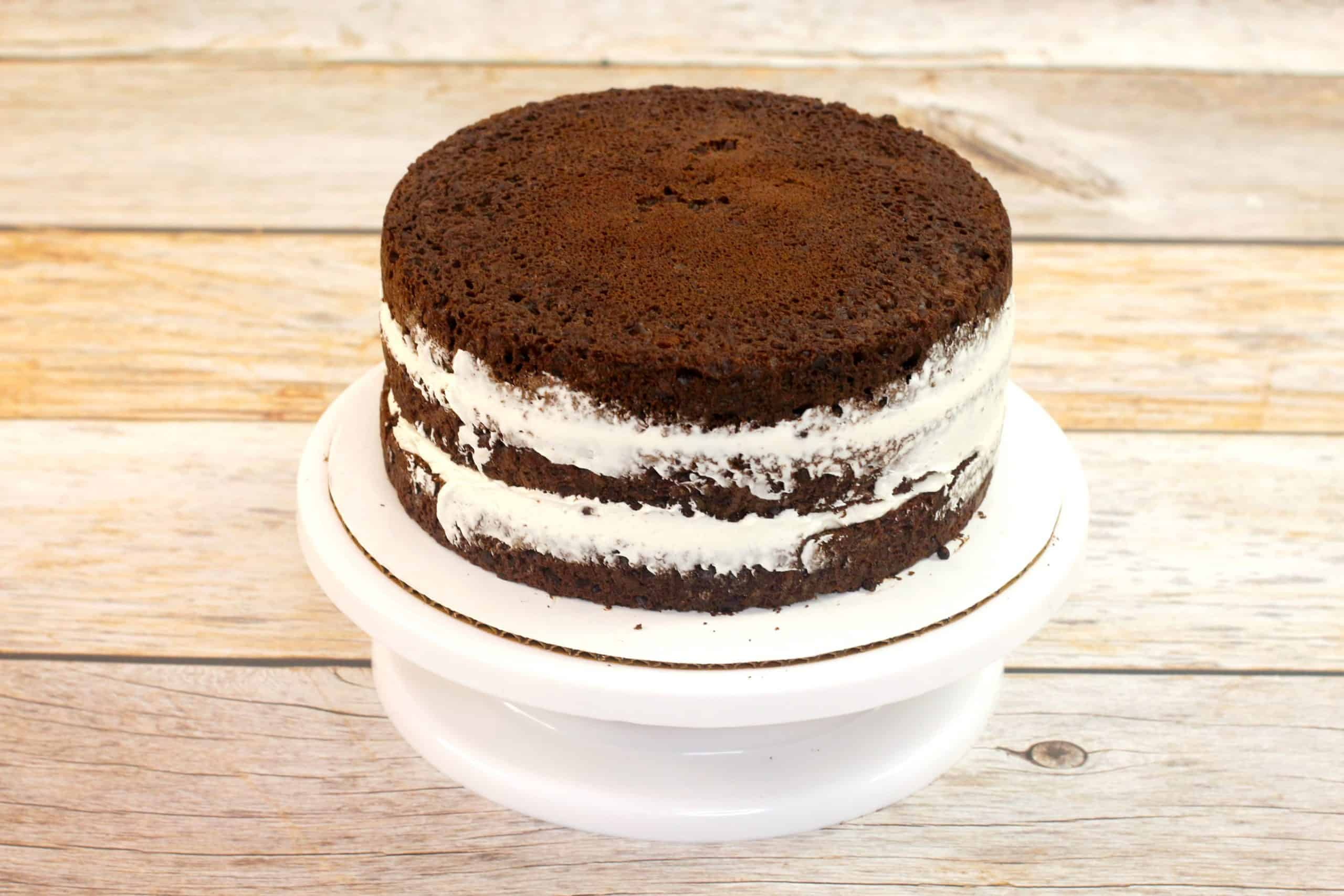 3 layers of cake with vanilla frosting