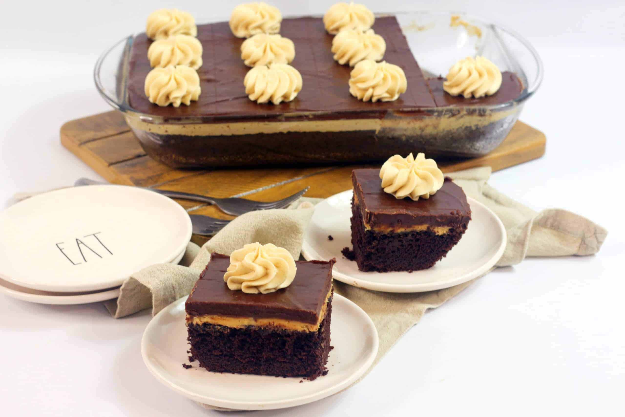 chocolate peanut butter cake on plates