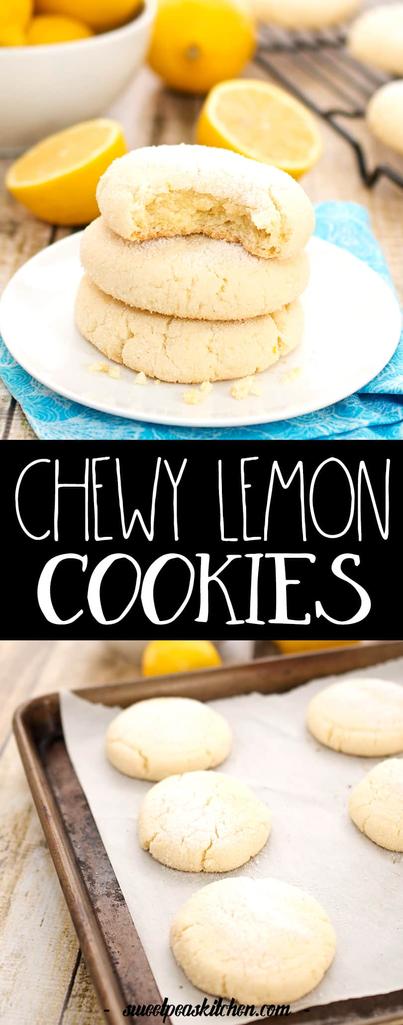 chewy lemon cookie collage