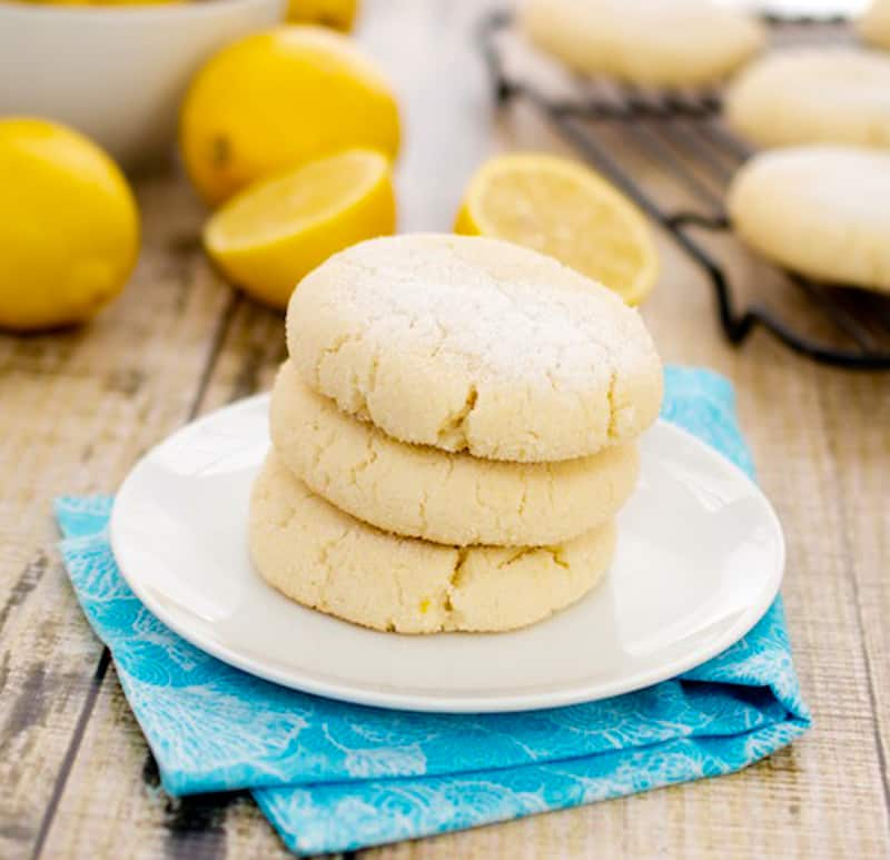 lemon cookies on a white plate