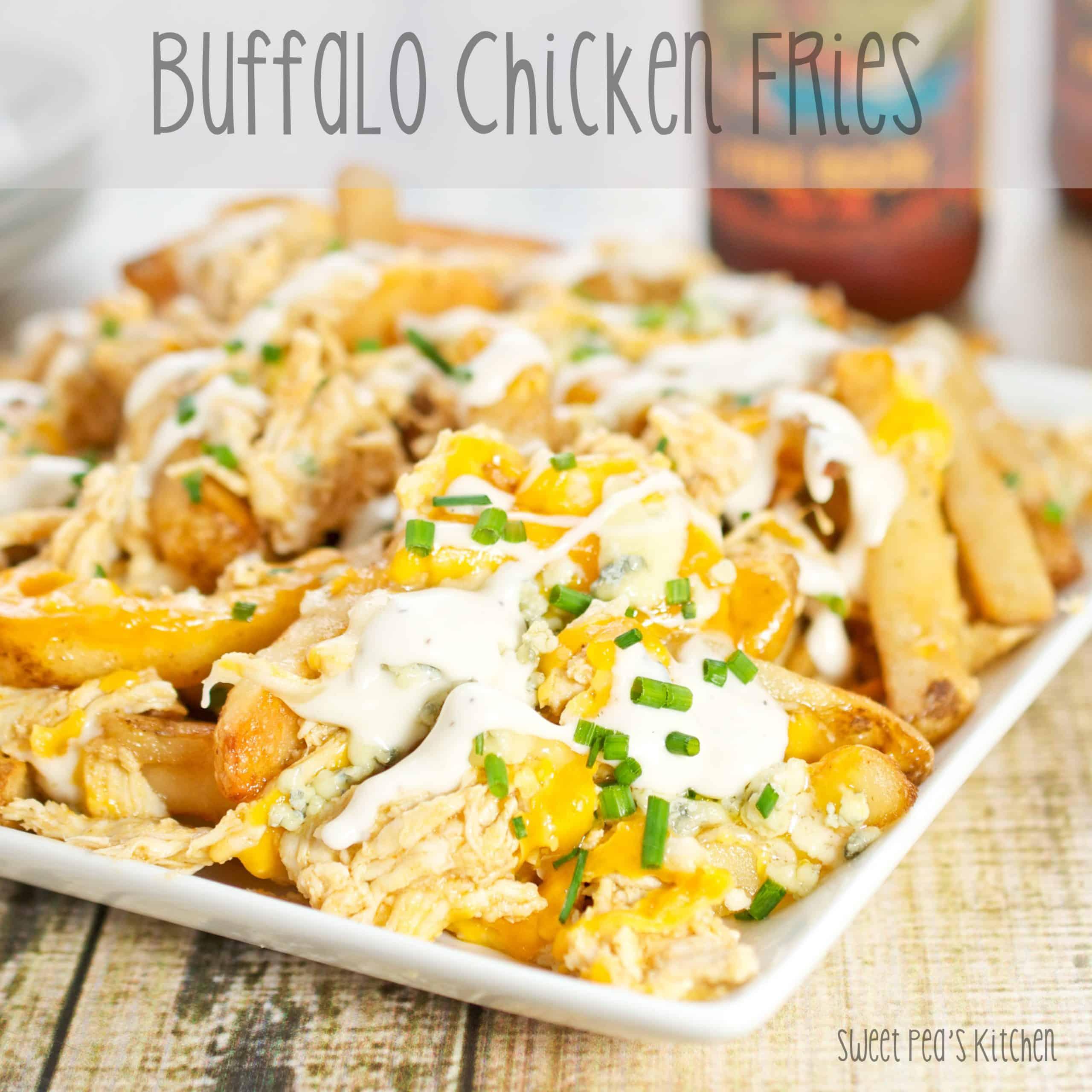 sheet pan of Loaded Buffalo Chicken Fries