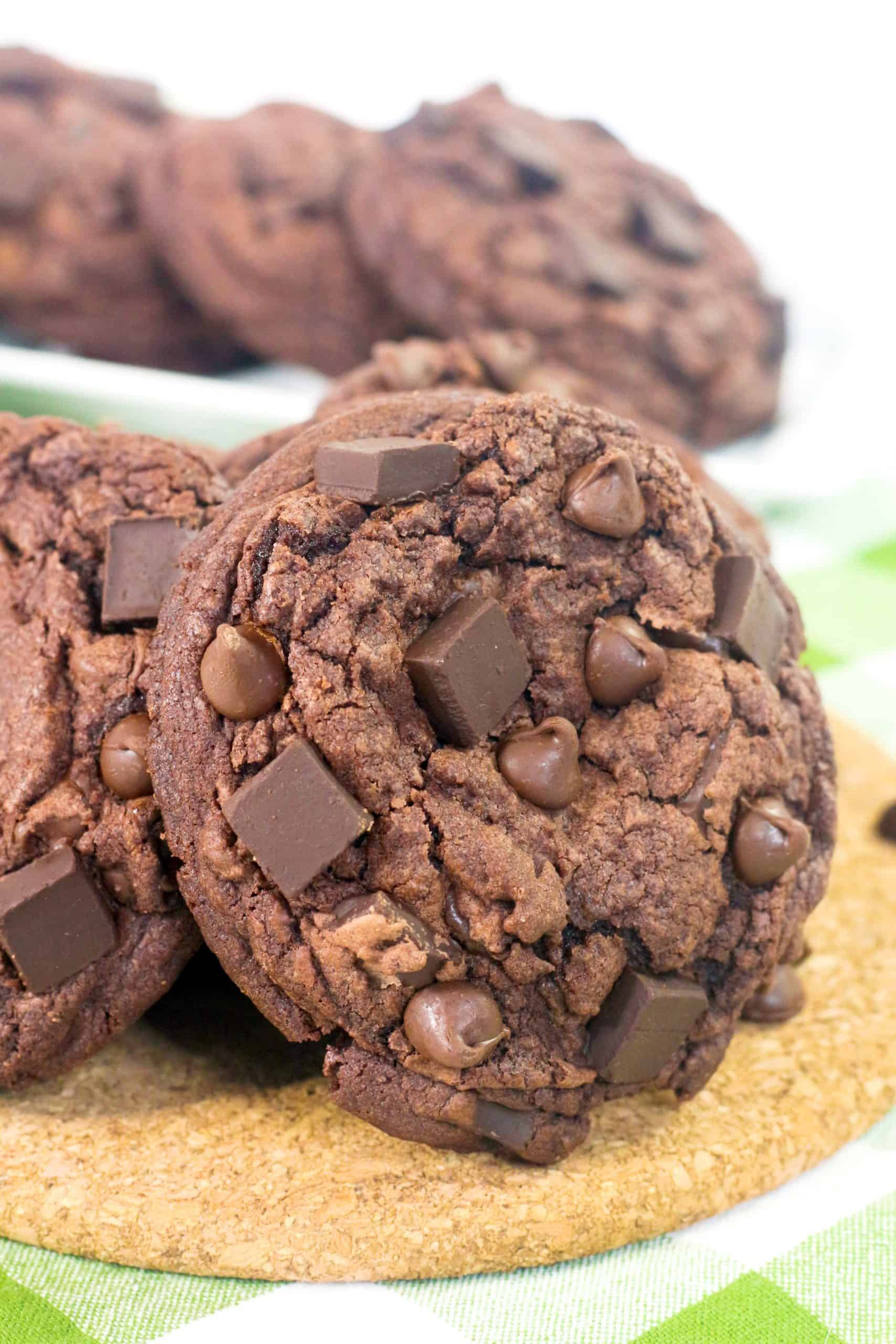 double chocolate chip cookies ready to eat