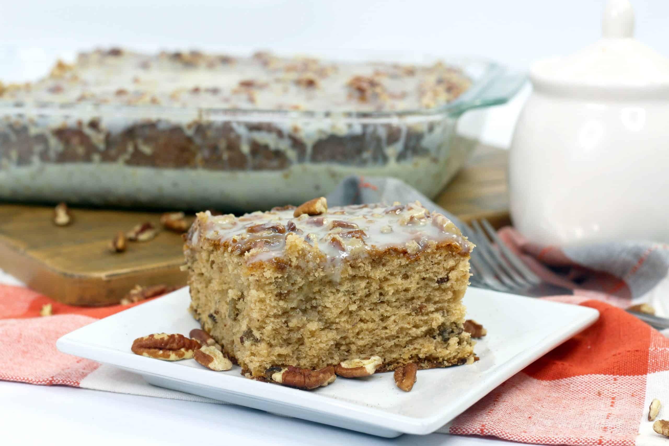 pecan praline cake on white plate