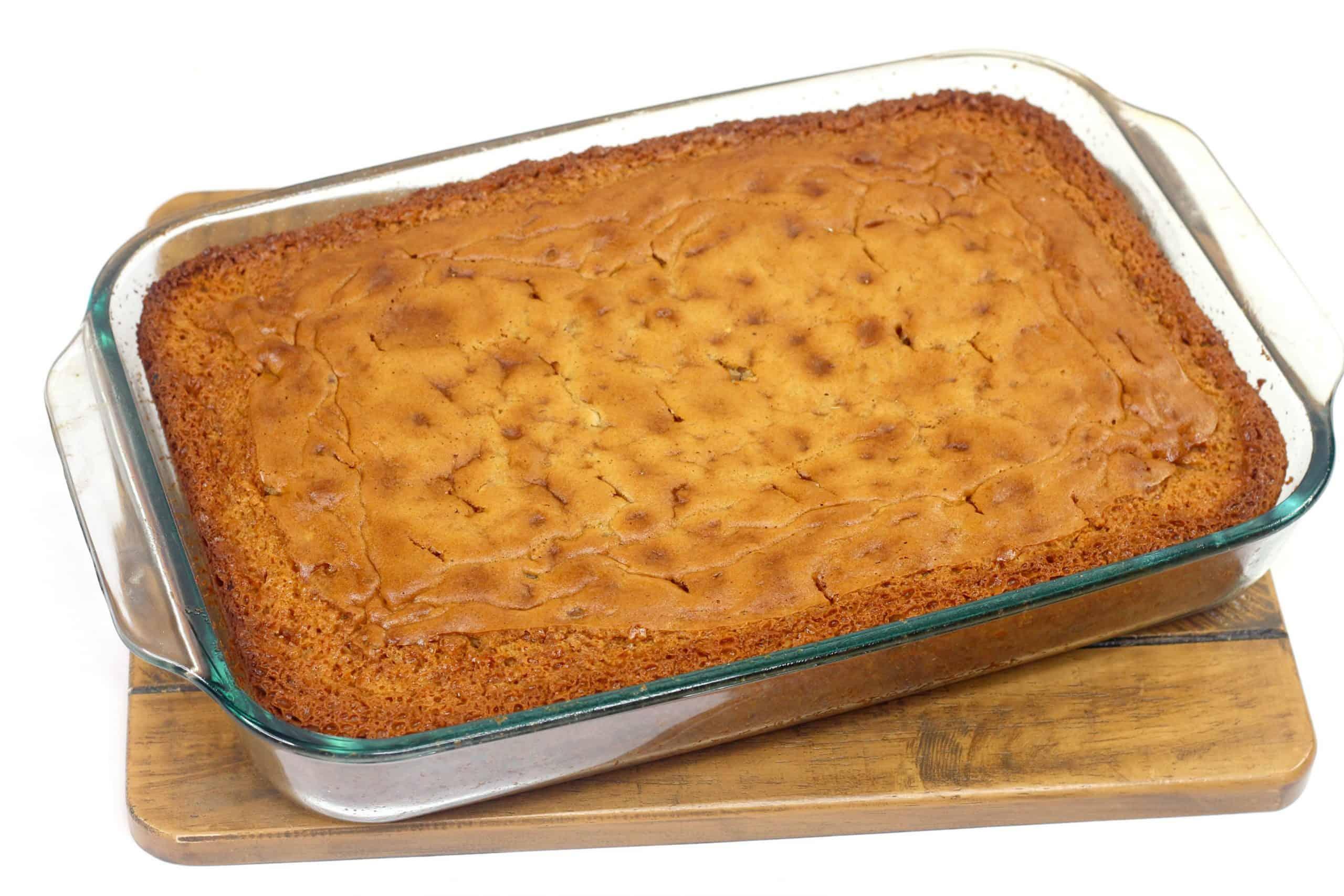 southern butter pecan cake in pan