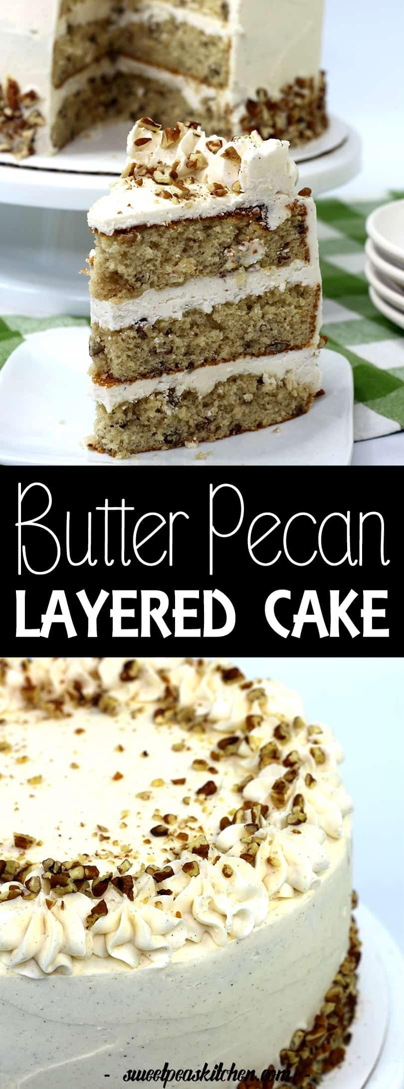 Layered Butter Pecan Cake Recipe