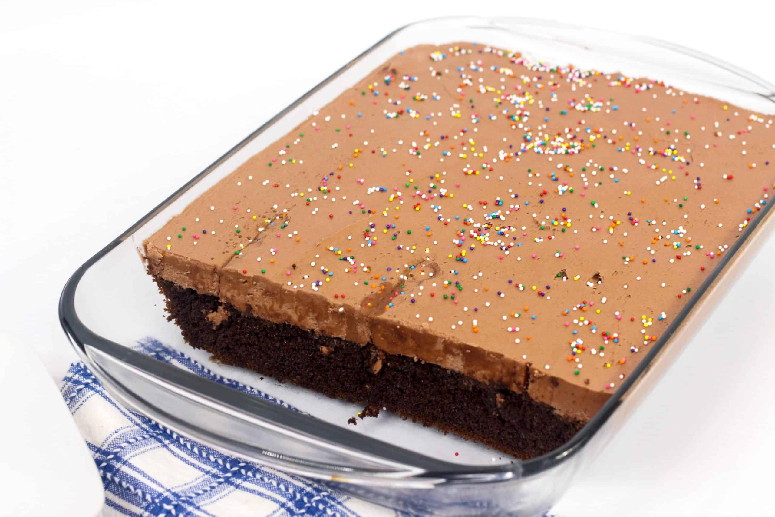 Eggless Chocolate Cake in a cake pan