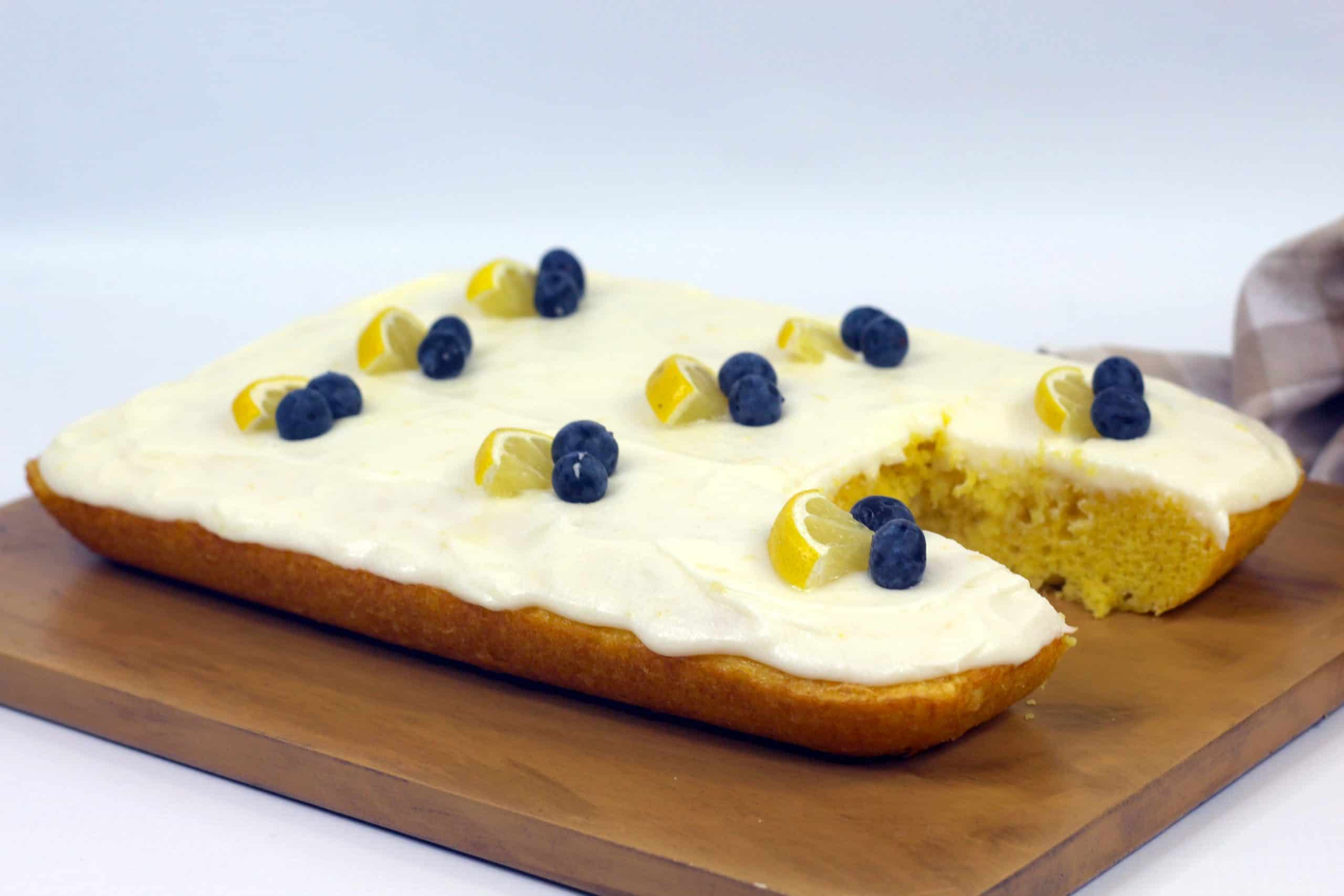 lemon sheet cake ready to eat