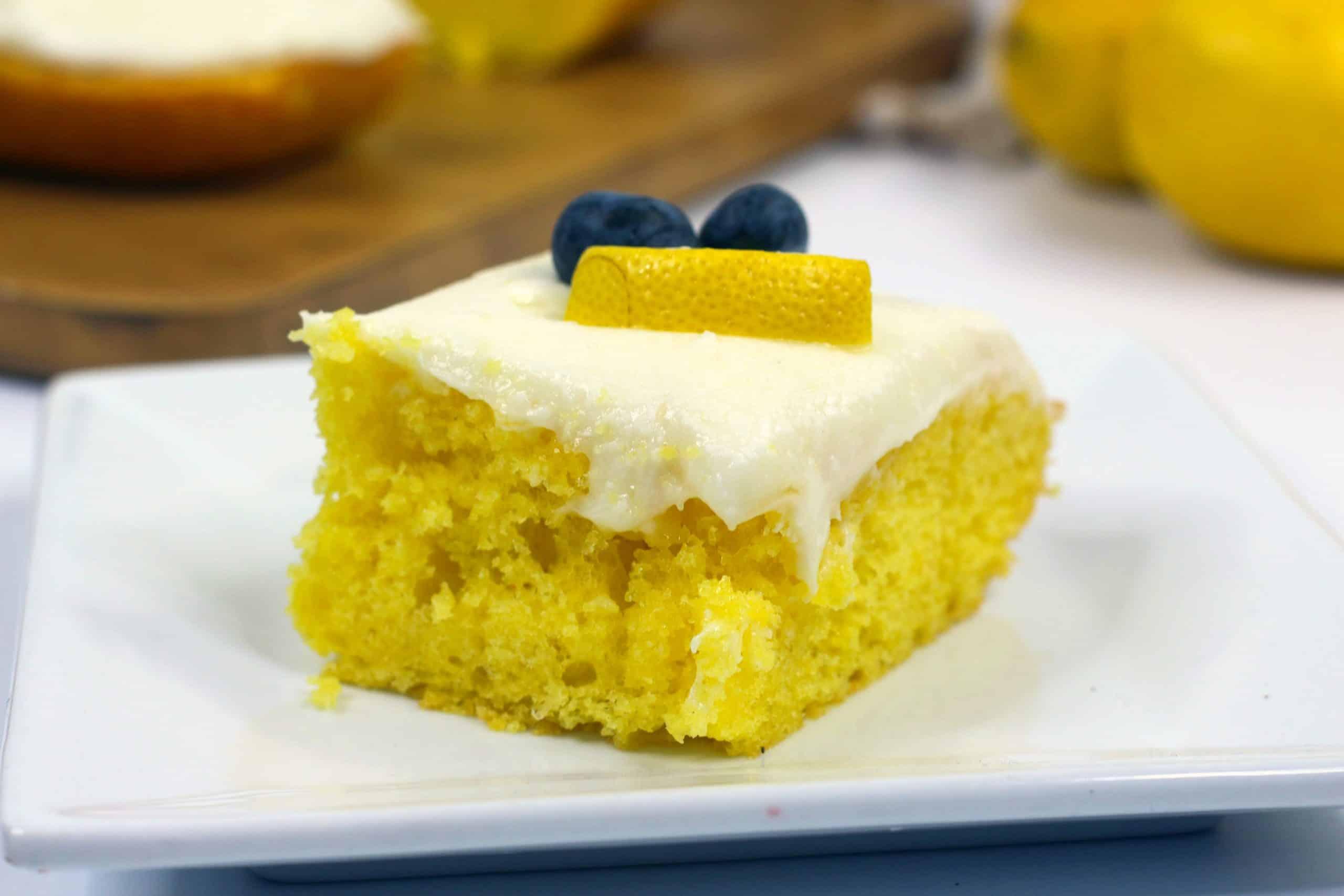 slice of ready to serve lemon cake