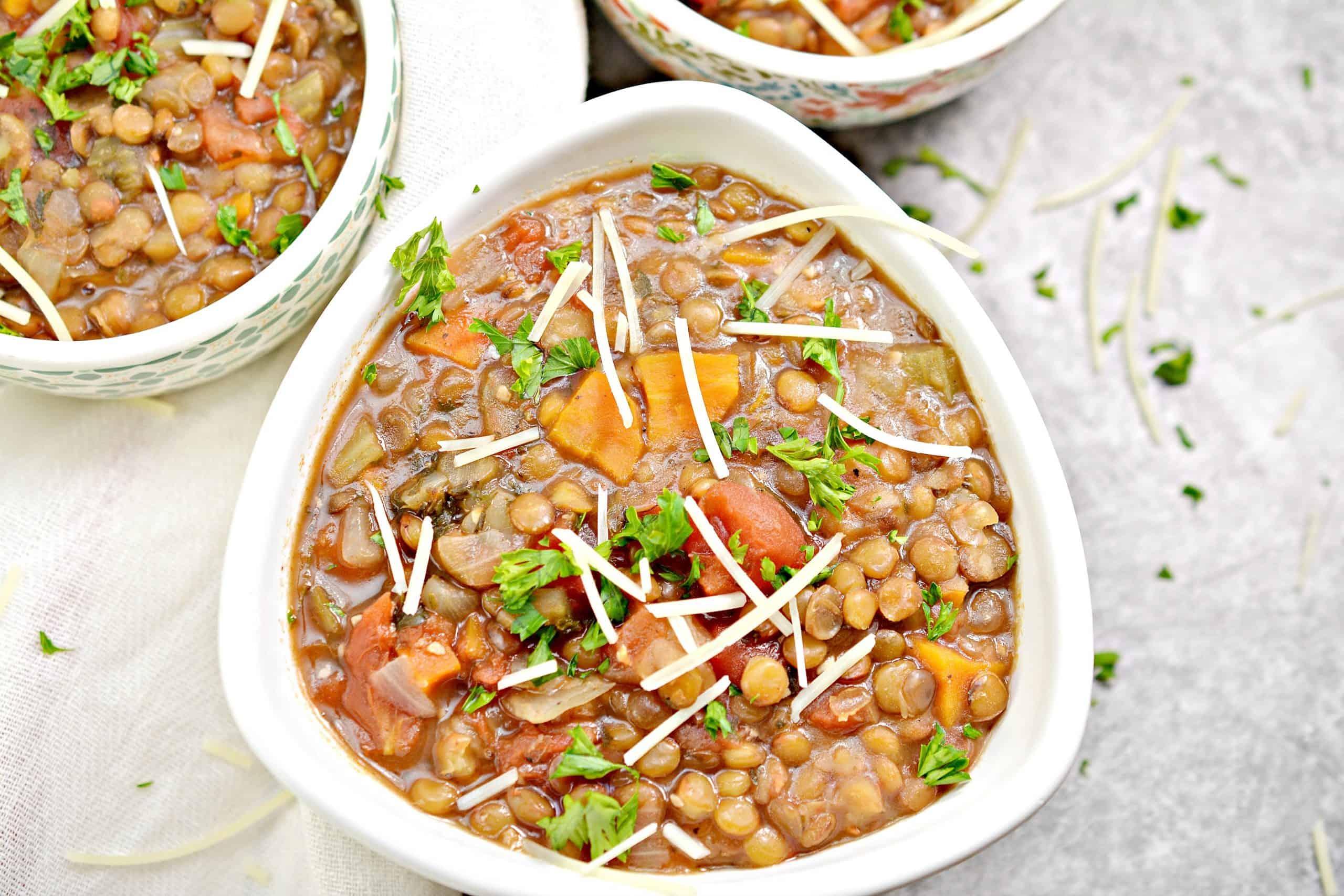 instant pot lentil soup recipe in bowl