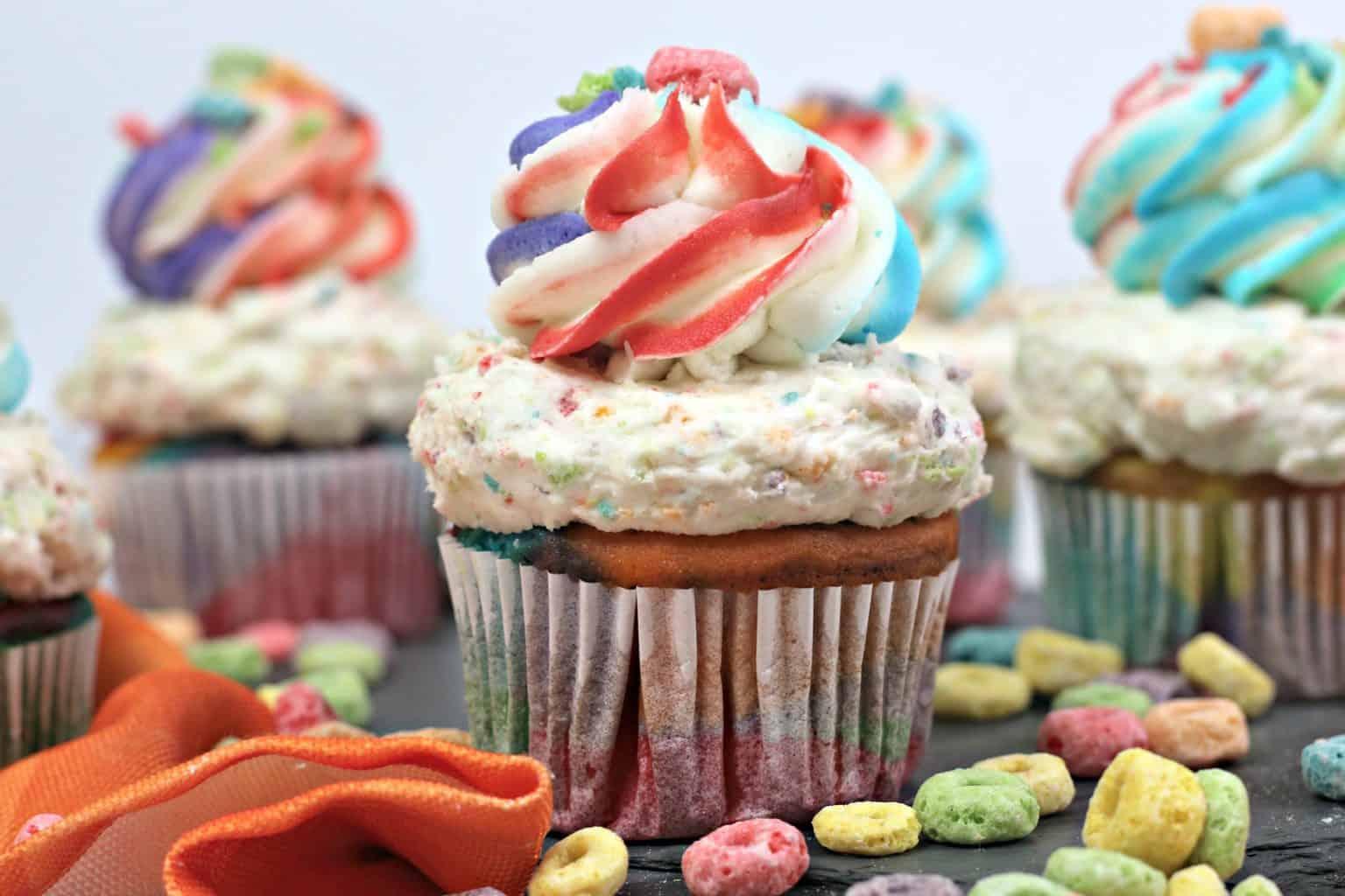 rainbow cupcake, fruit loop recipe