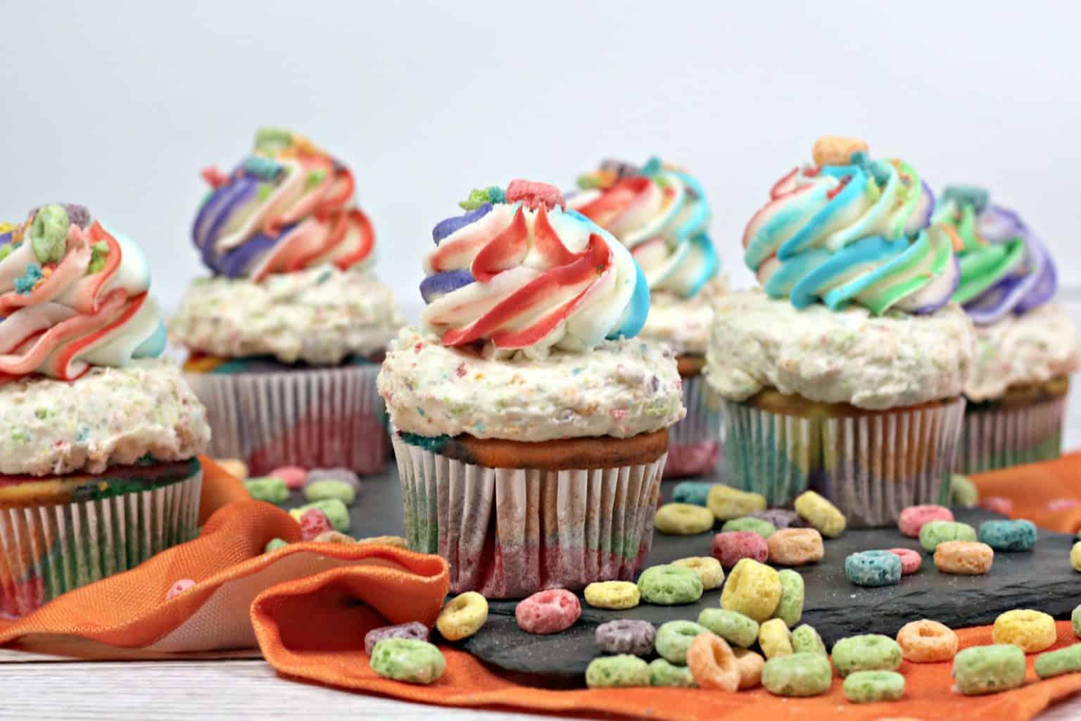 fruit loop recipe, fruit loop cupcakes