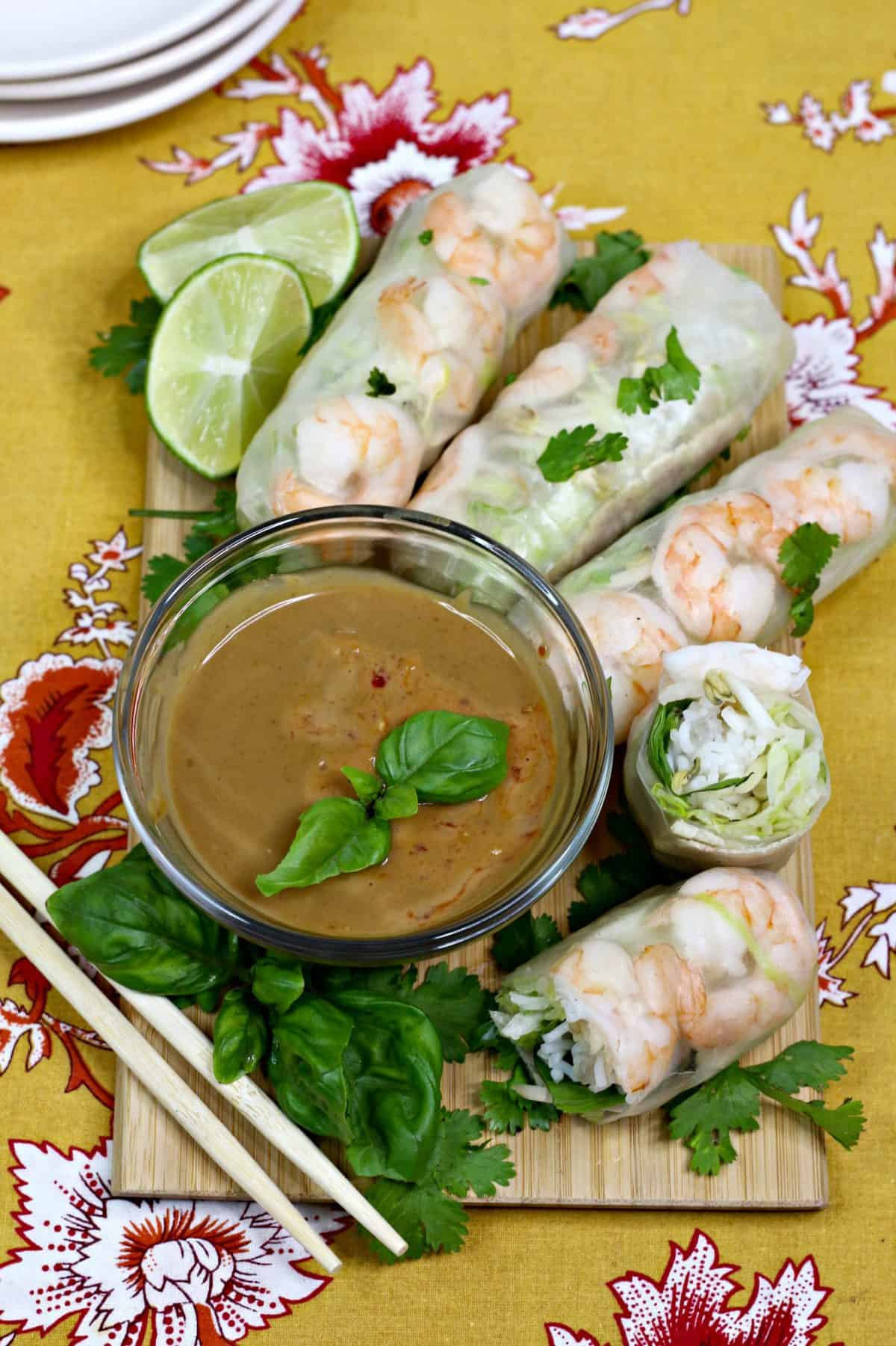 Homemade Thai Spring Rolls, Thai Spring Rolls With Homemade Peanut Sauce, Thai shrimp rolls