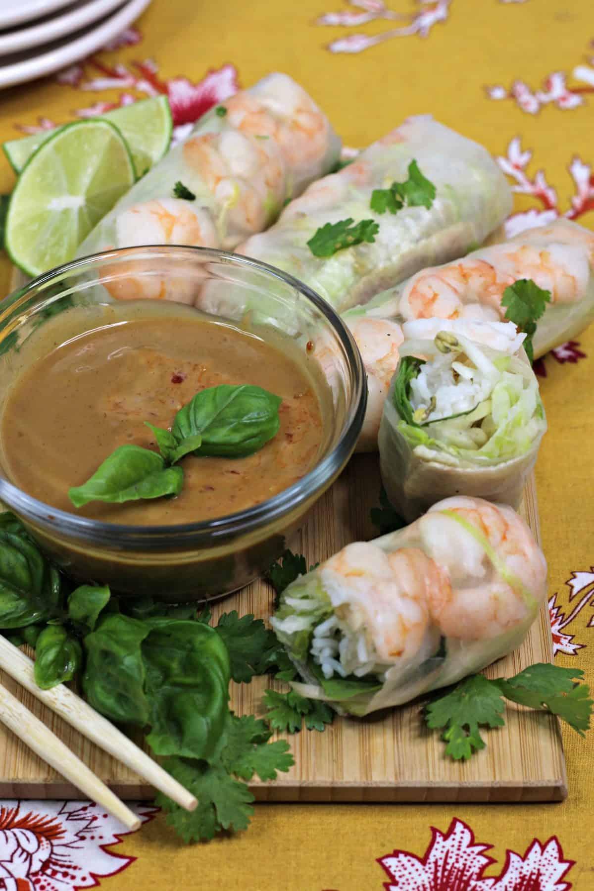 Homemade Thai Spring Rolls, Thai Spring Rolls With Homemade Peanut Sauce, Thai shrimp rolls