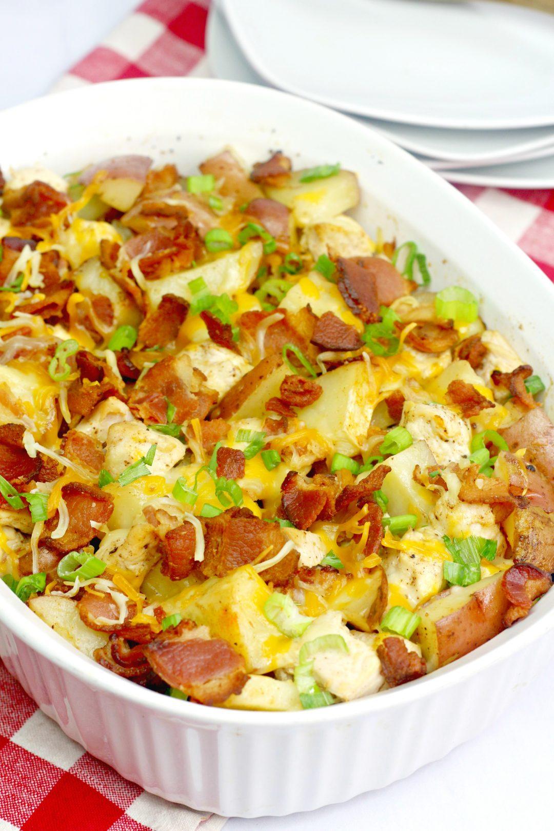 Loaded Baked Potato Chicken Casserole ,chicken potato casserole , chicken potato bake ,boneless chicken recipe
