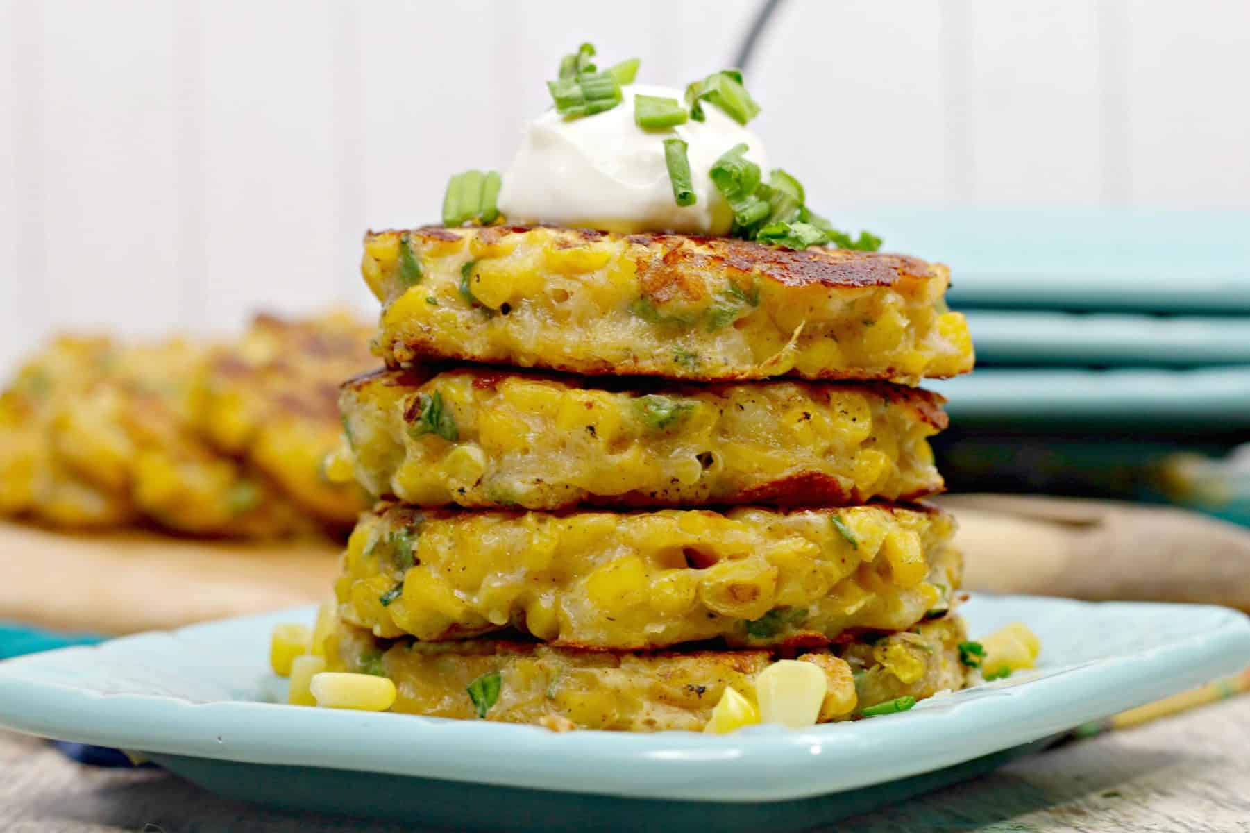 fried corn fritters, corn cakes