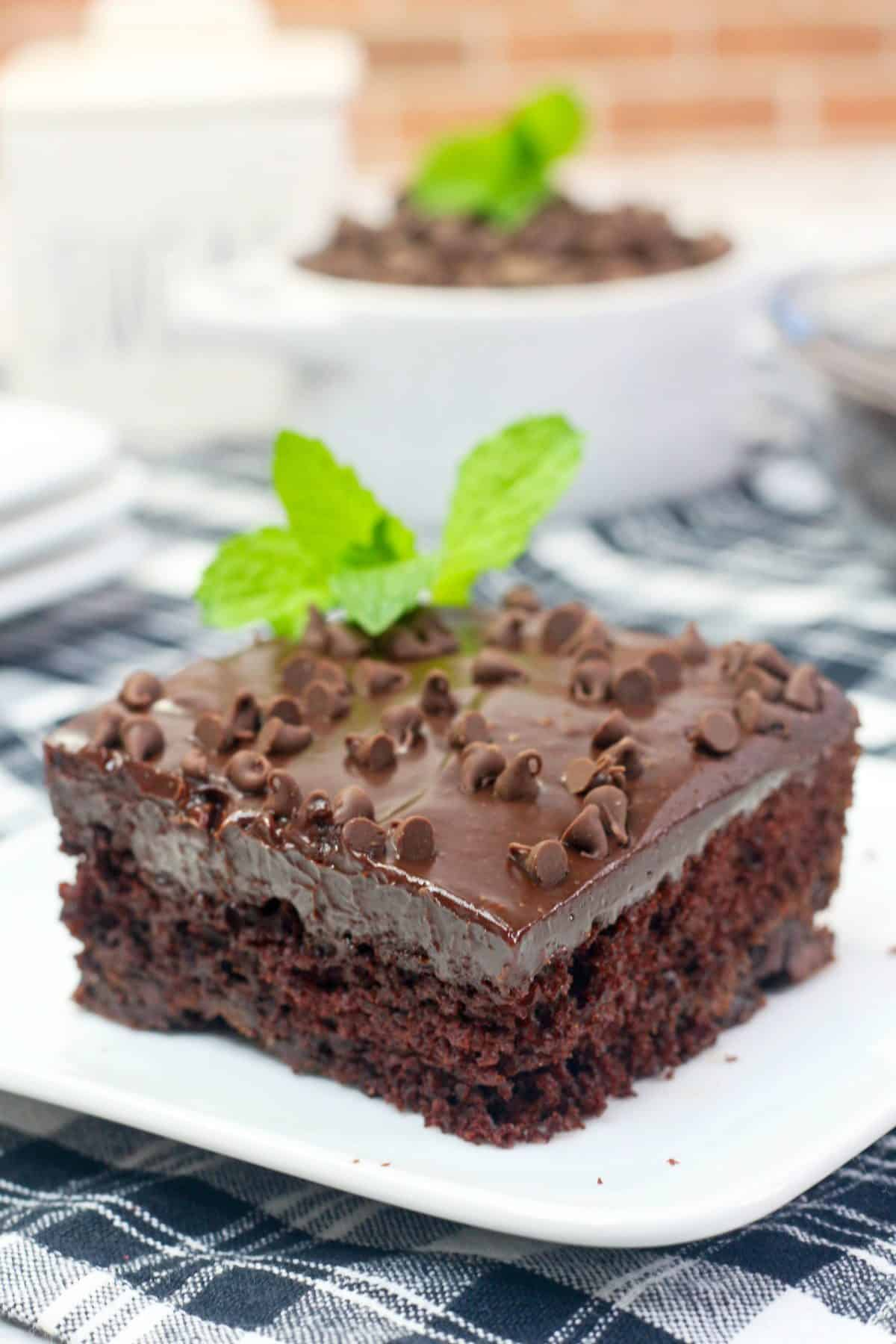 Mint Chocolate Cake, Chocolate Ganache Frosting