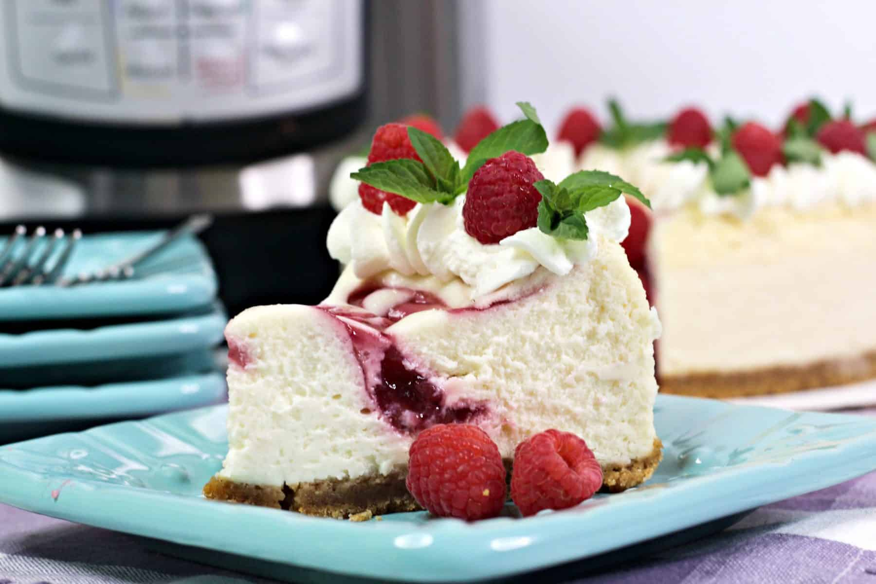 Pressure Cooker Raspberry Cheesecake, raspberry cheesecake