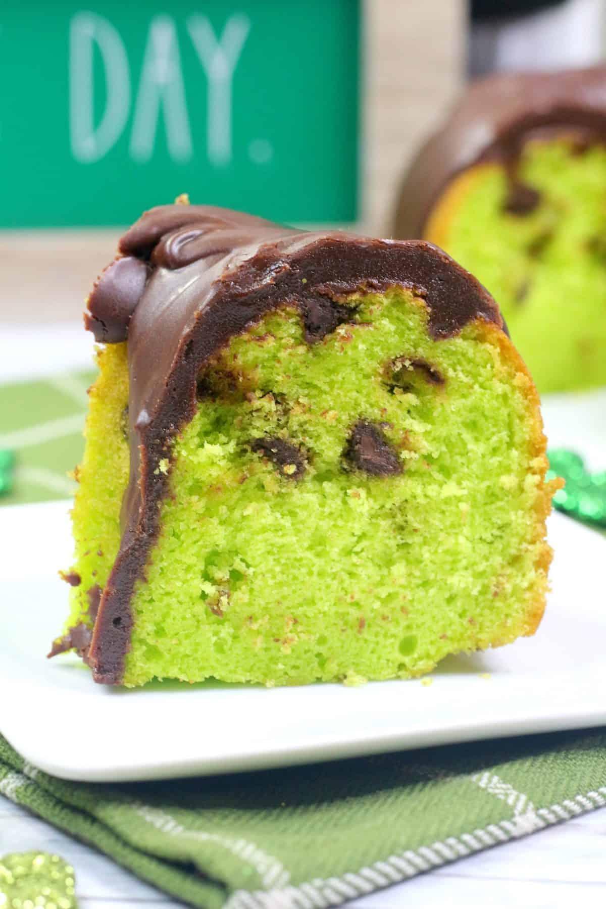 St Patricks Day dessert, mint chocolate chip cake