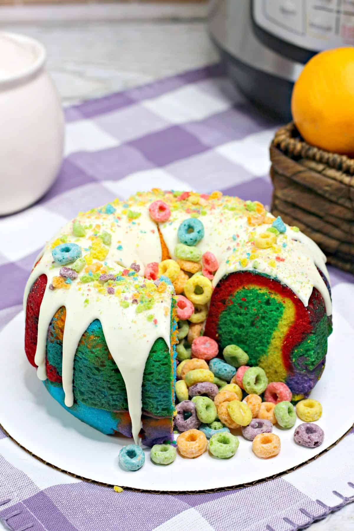 instant pot bundt cake, fruit loop cake