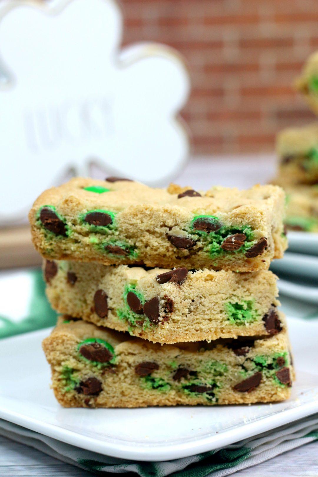 homemade cookie bars, St. Patrick's Day dessert