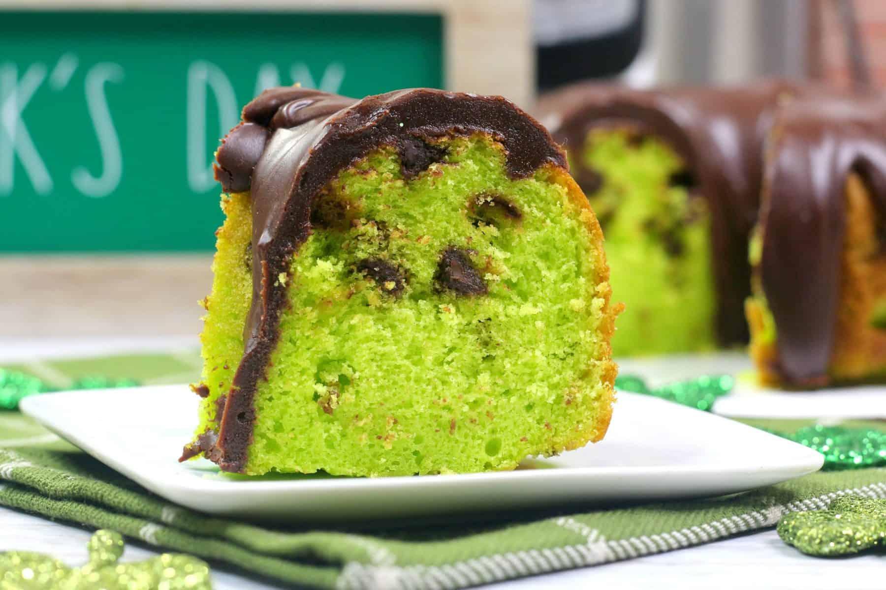 mint chocolate chip cake, St Patricks Day dessert