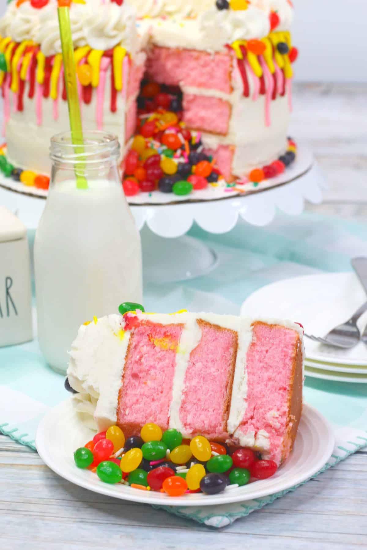 Easter cake recipe, layered jelly bean cake