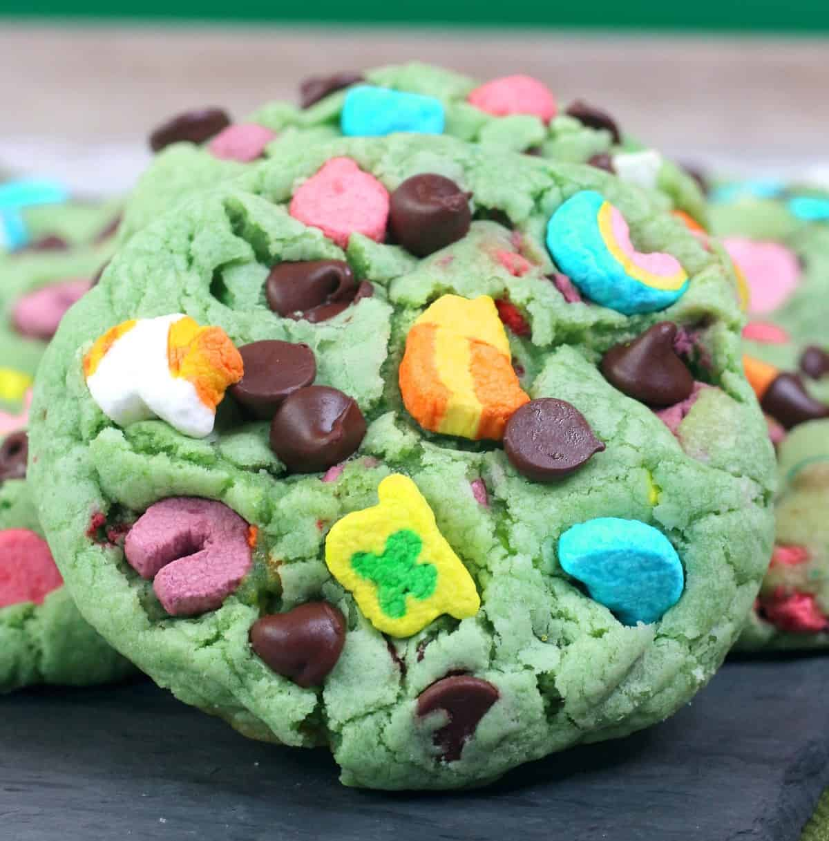 Lucky Charm Mint Chip Cookies