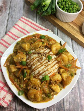 cheesecake bang bang chicken and shrimp, spicy chicken and shrimp