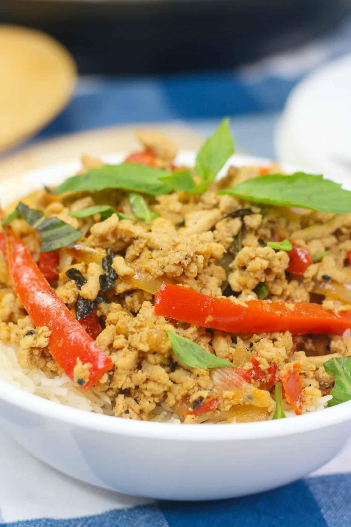 ground chicken stir fry, thai chicken recipe