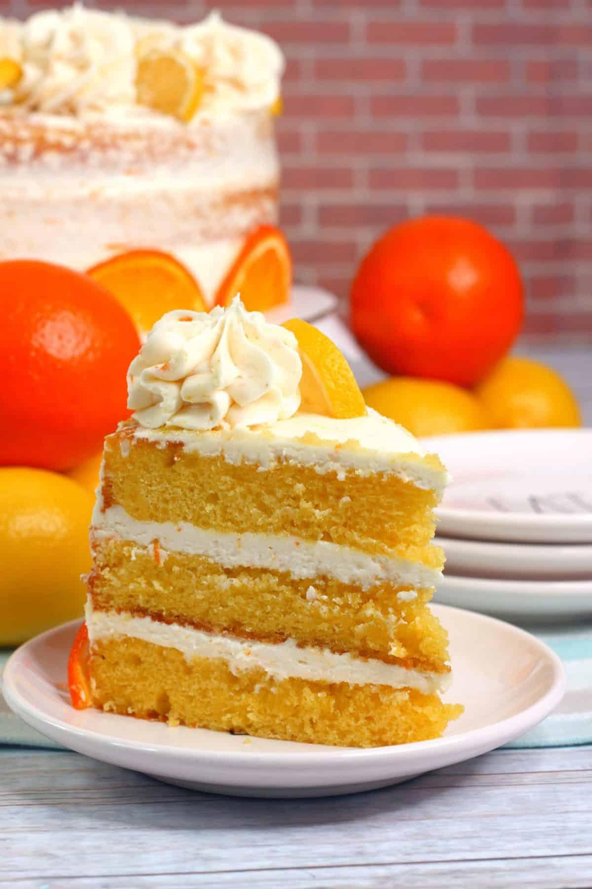 layered lemon orange cake, the best orange layered cake