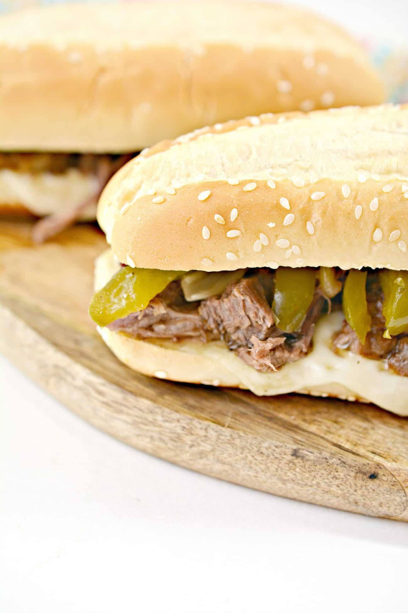 Slow Cooker Philly Cheesesteak Sandwiches