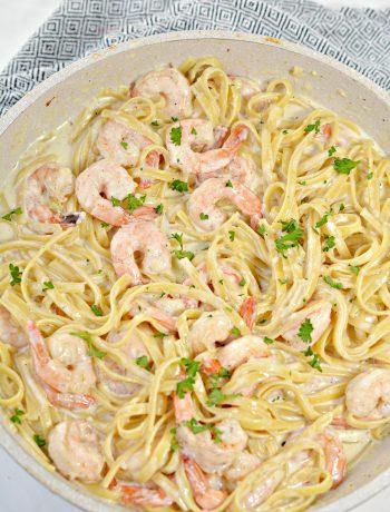 One Pan Shrimp Fettuccine Alfredo